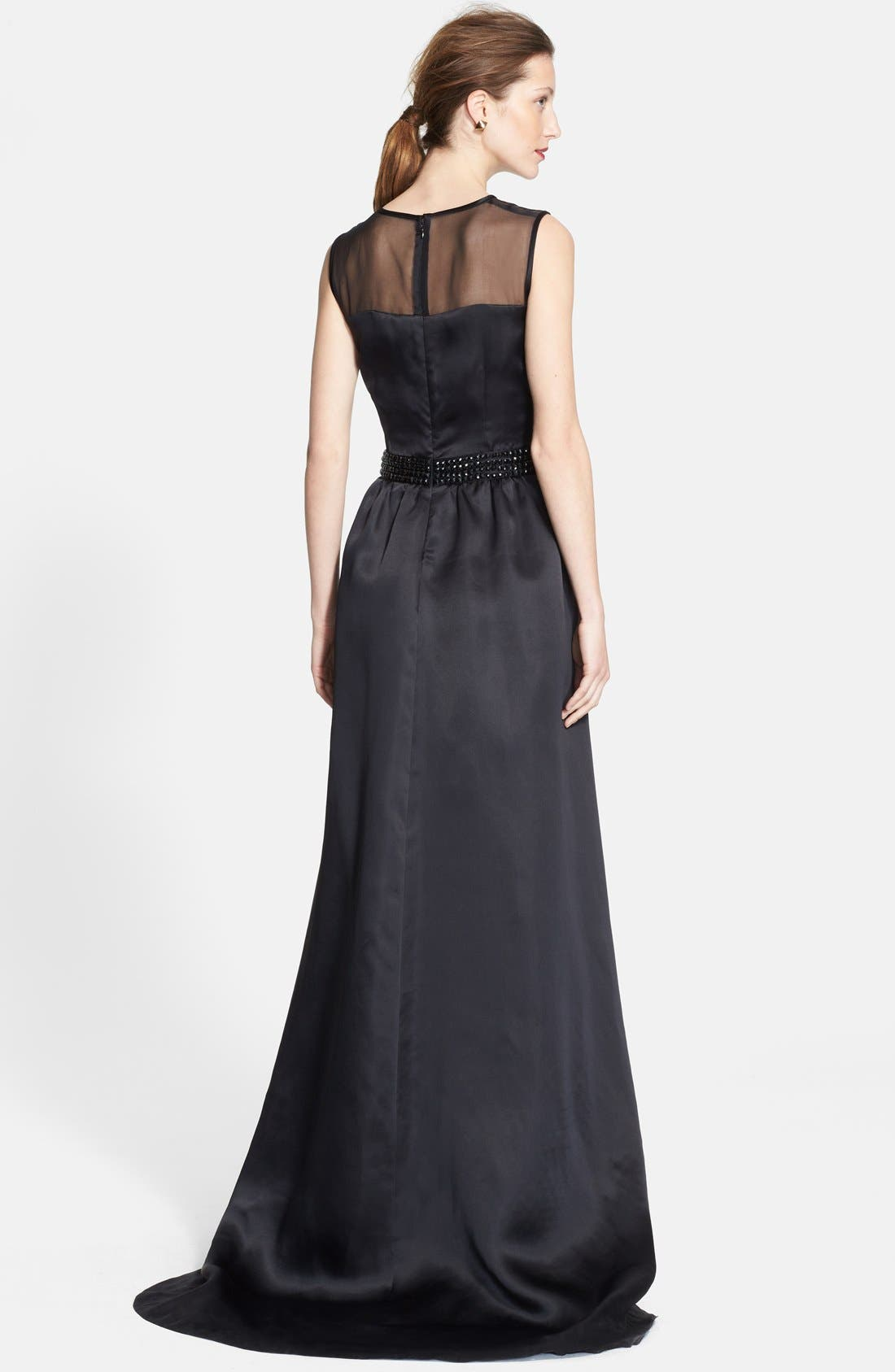 Alternate Image 2  - St. John Collection Embellished Waist Shimmer Milano Knit Gown