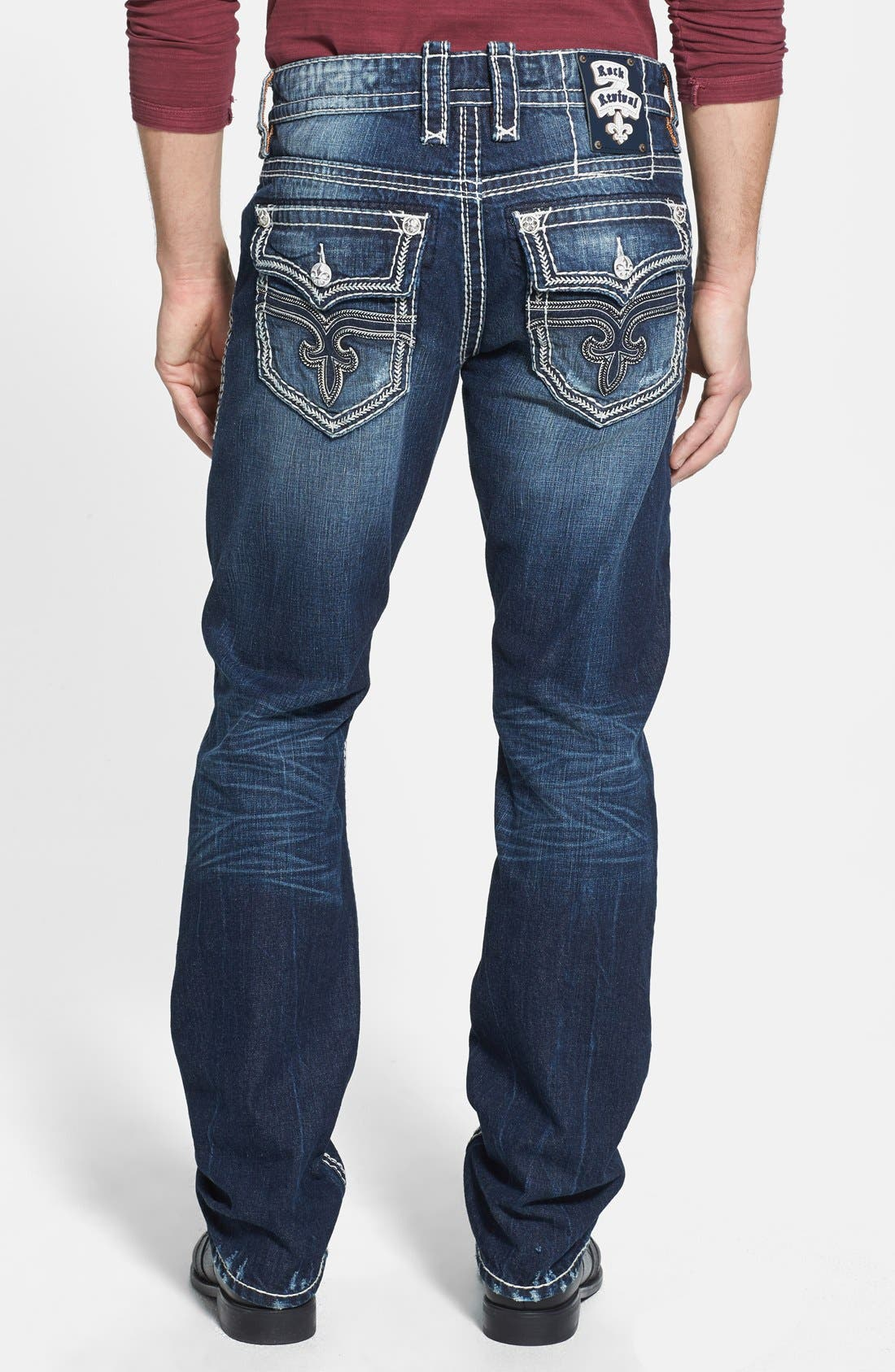 Alternate Image 1 Selected - Rock Revival 'Saul' Straight Leg Jeans (Dark Blue)