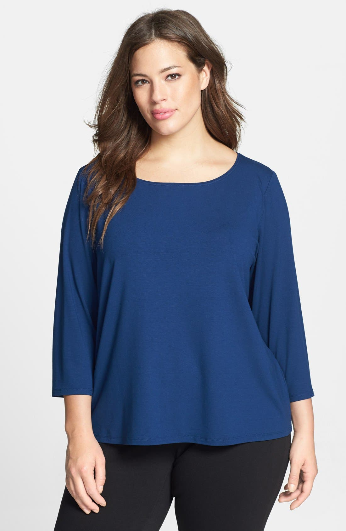 Alternate Image 1 Selected - Eileen Fisher Ballet Neck Jersey Tee (Plus Size)