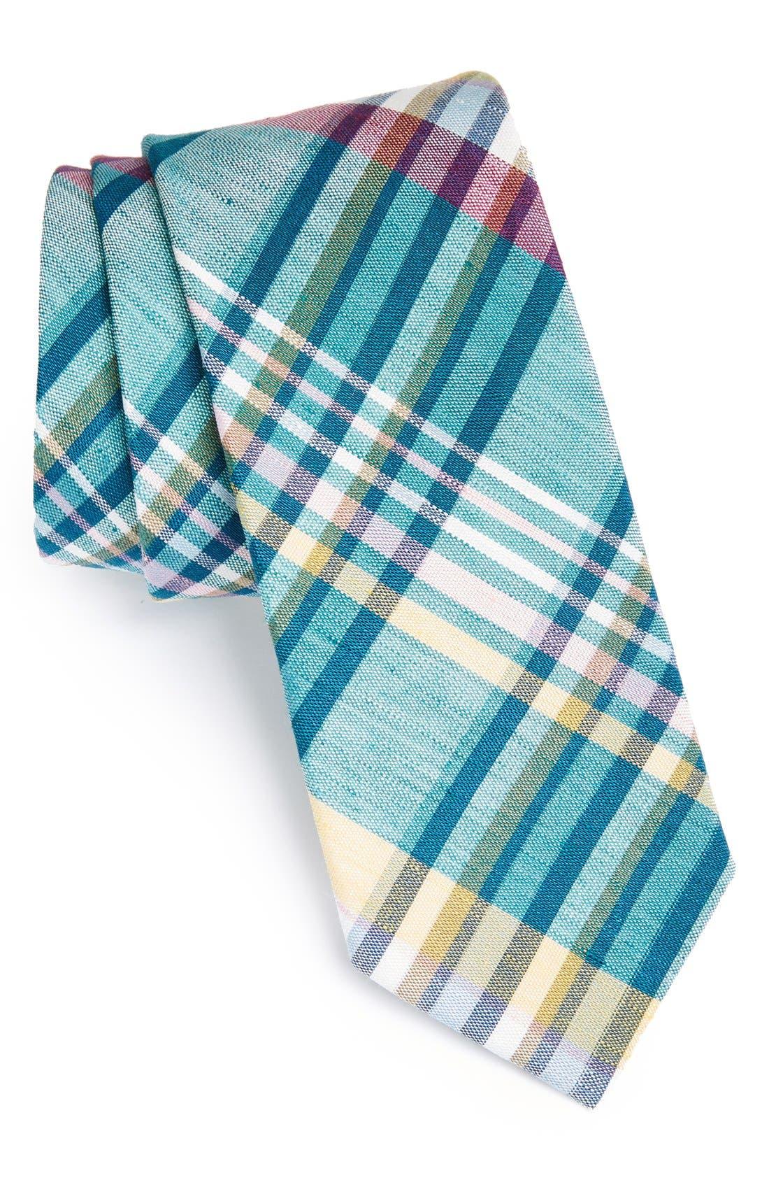 Woven Linen & Silk Tie,                             Main thumbnail 1, color,                             Aqua