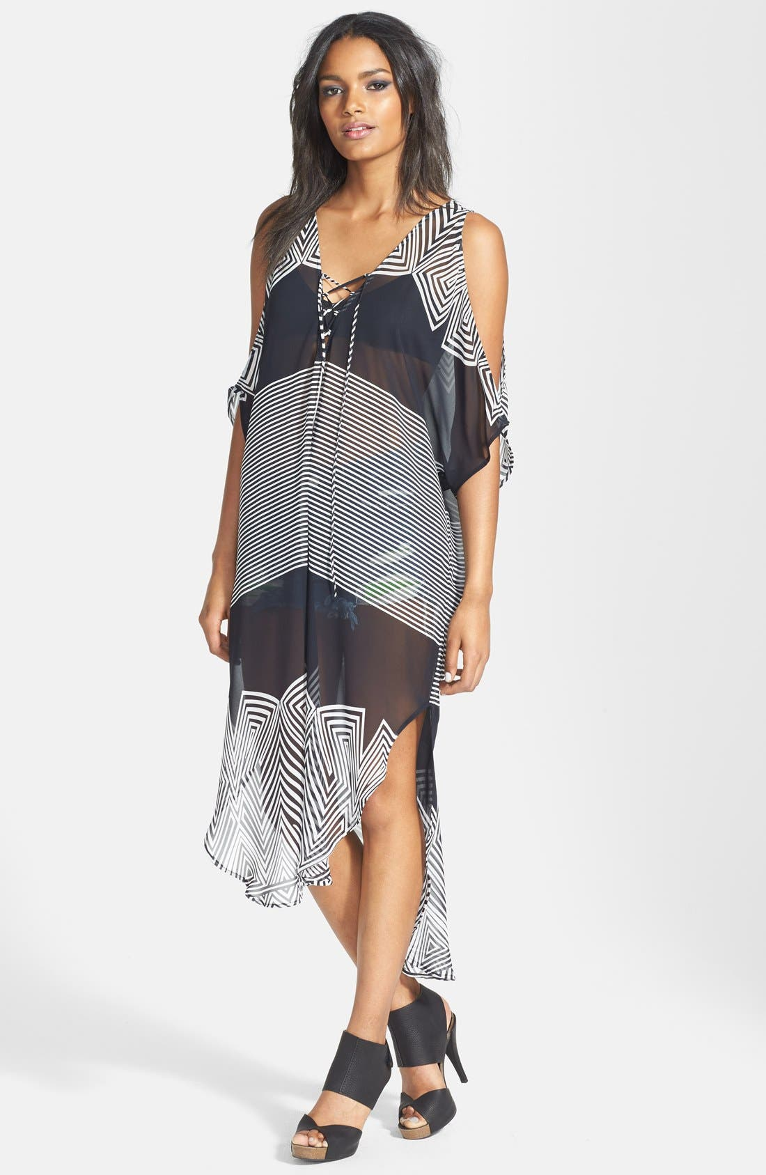 Main Image - ASTR Lace-Up Oversized Shift Dress