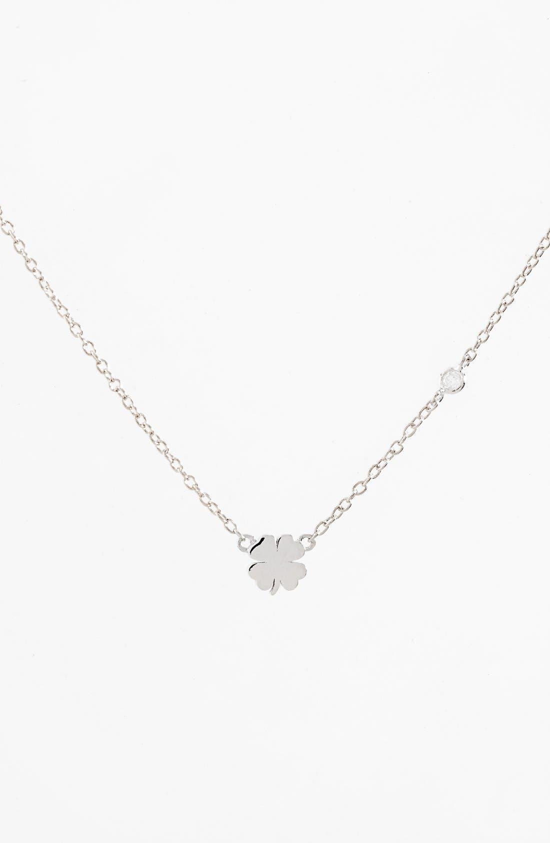 Clover Necklace,                             Main thumbnail 1, color,                             Silver