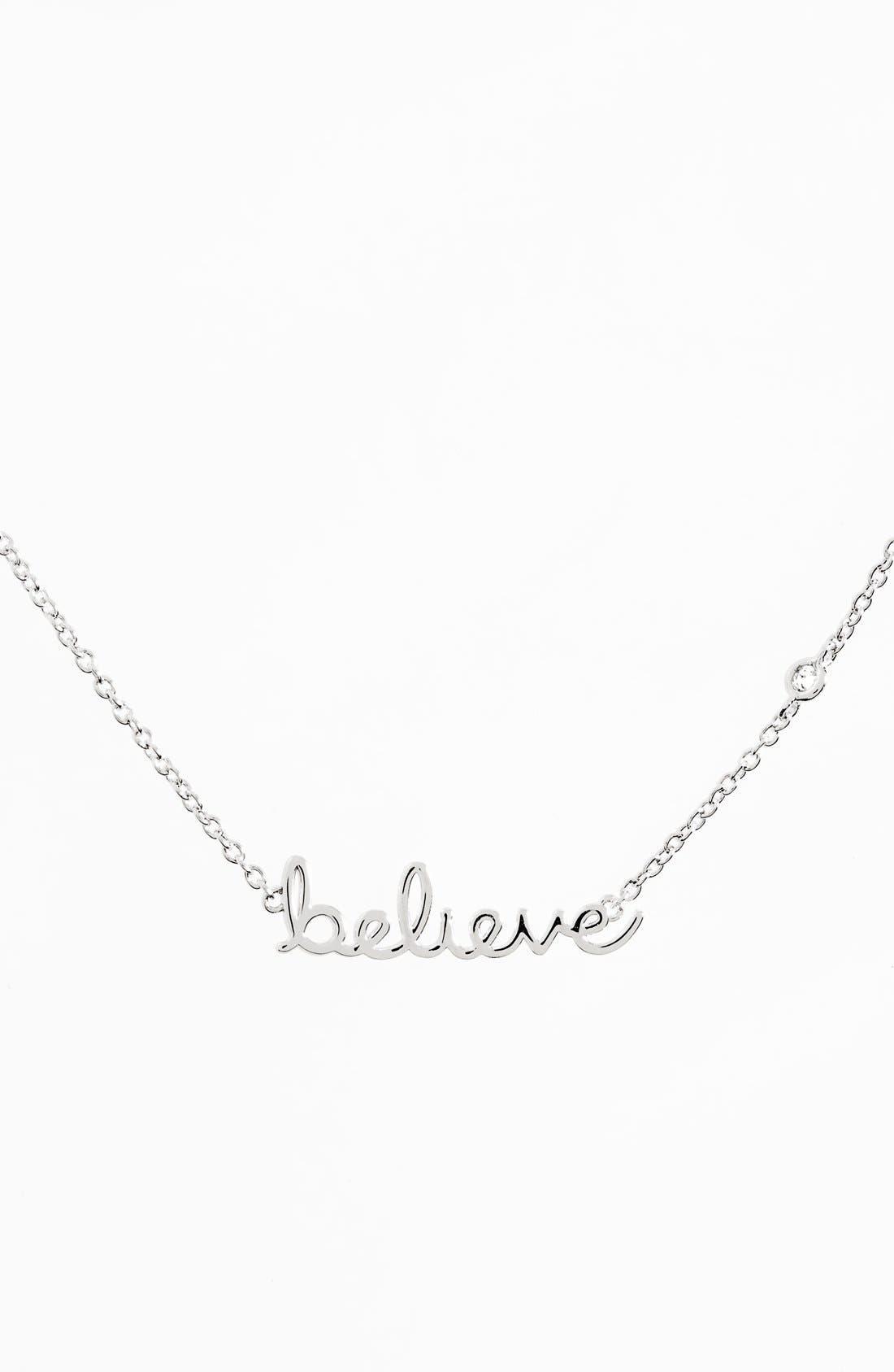 'Believe' Necklace,                         Main,                         color, Silver