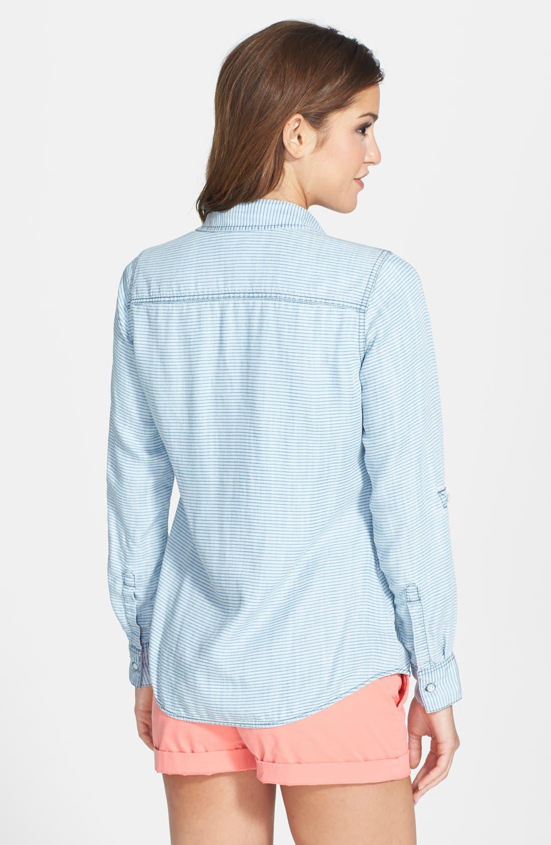 Alternate Image 2  - Foxcroft Modern Fit Stripe Chambray Shirt (Regular & Petite)