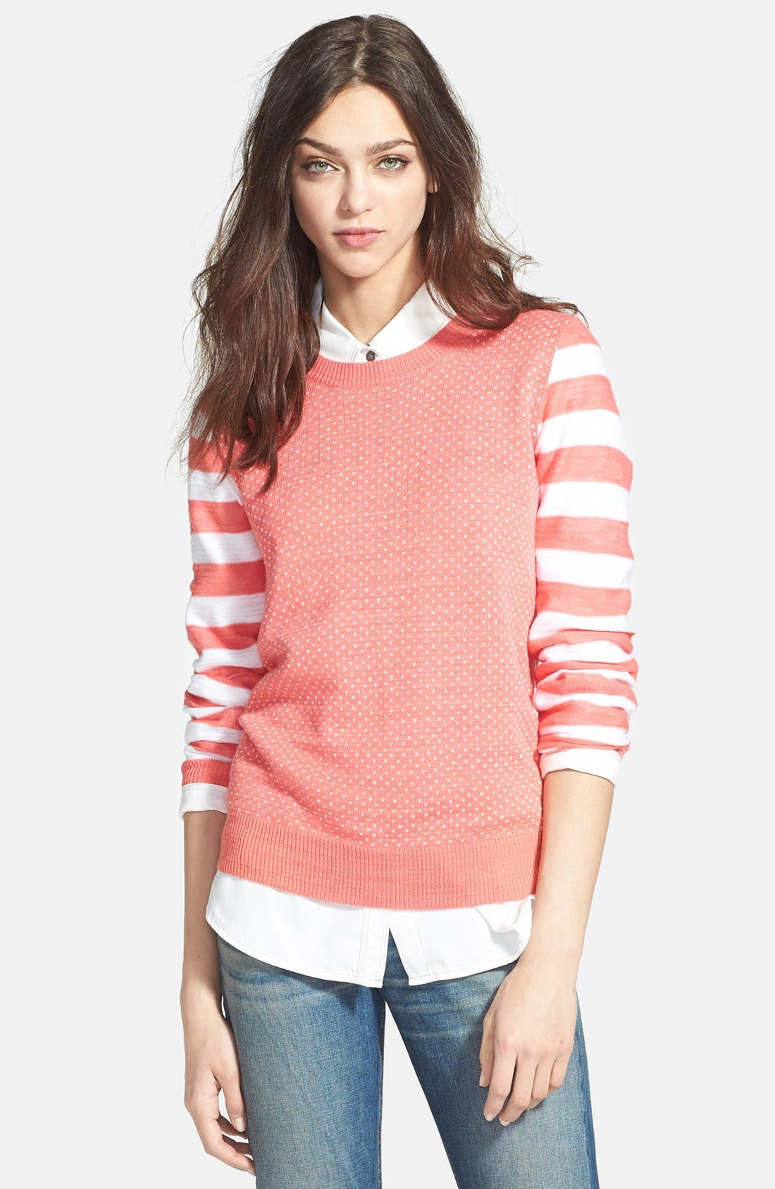 Mixed Pattern Knit Sweater,                         Main,                         color, Coral Sugar