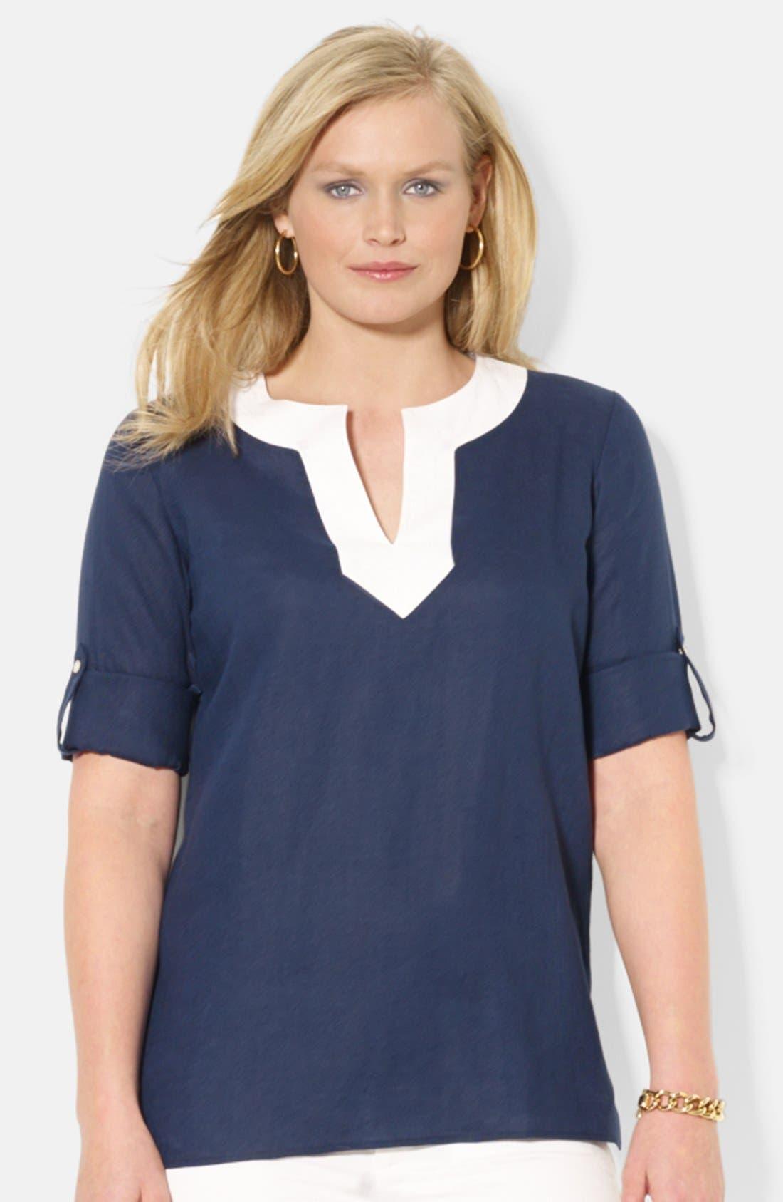 Main Image - Lauren Ralph Lauren Contrast Split Neck Linen Top (Plus Size)