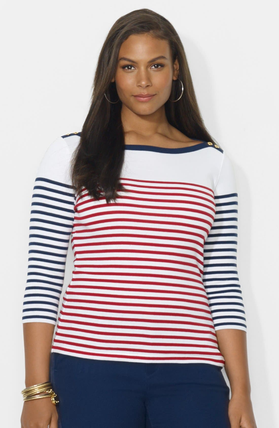 Alternate Image 1 Selected - Lauren Ralph Lauren Contrast Striped Top (Plus Size)