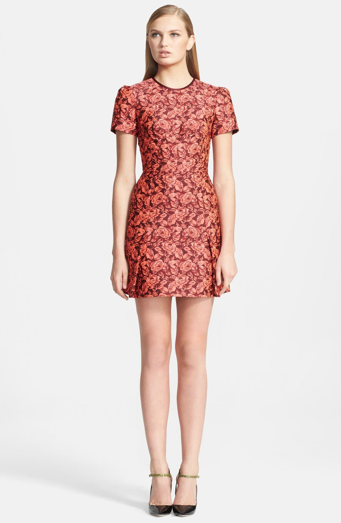 Main Image - Erdem Fitted Neon Floral Jacquard Dress