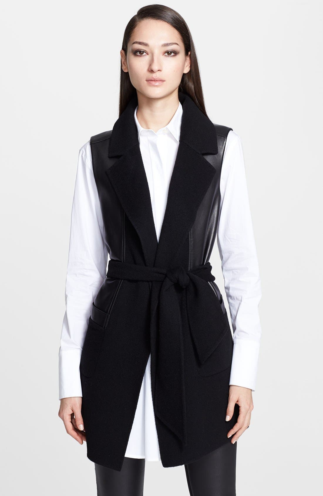 Main Image - Donna Karan Collection Belted Leather & Cashmere Vest