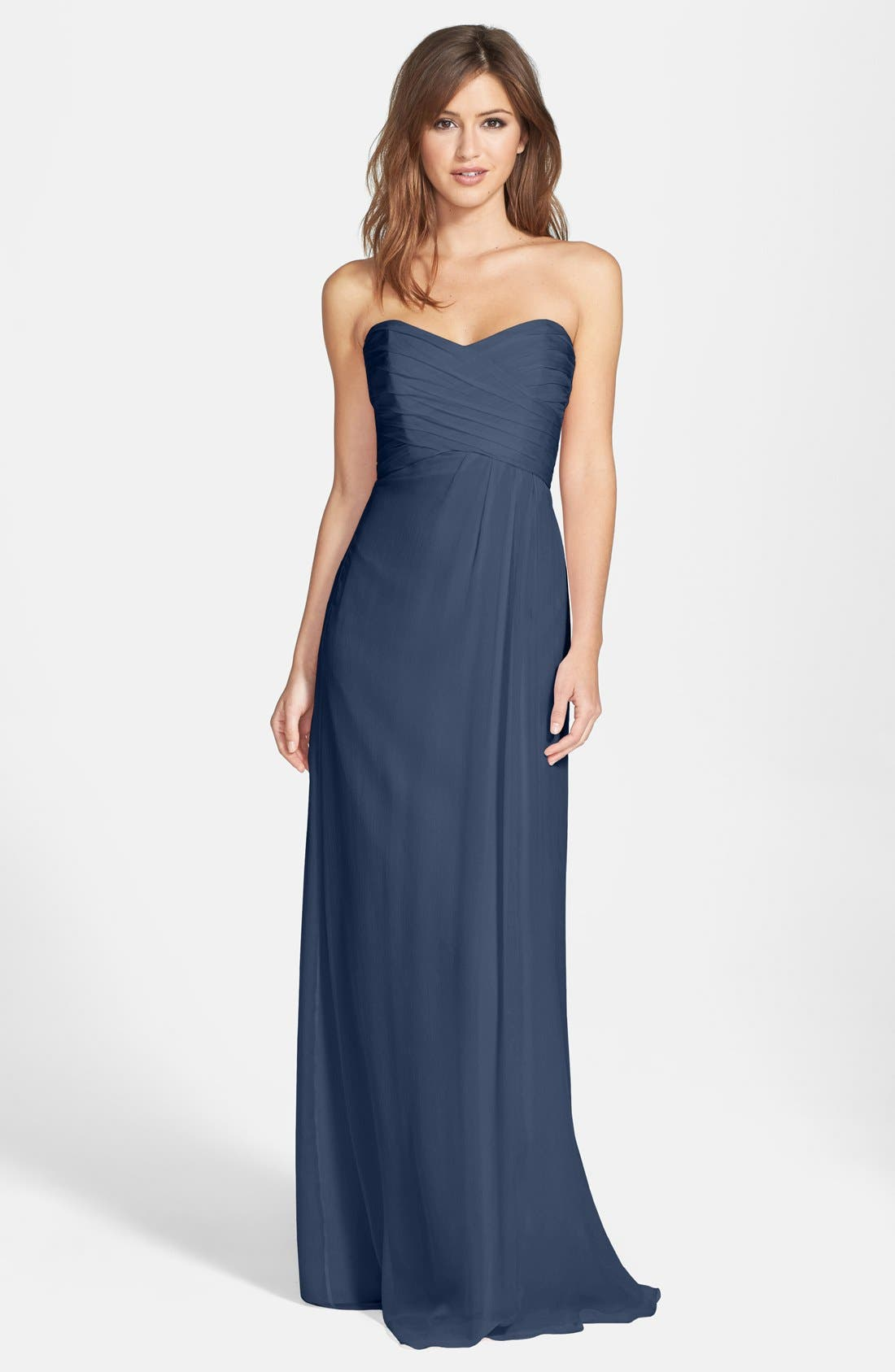 Main Image - Amsale Strapless Crinkle Chiffon Gown