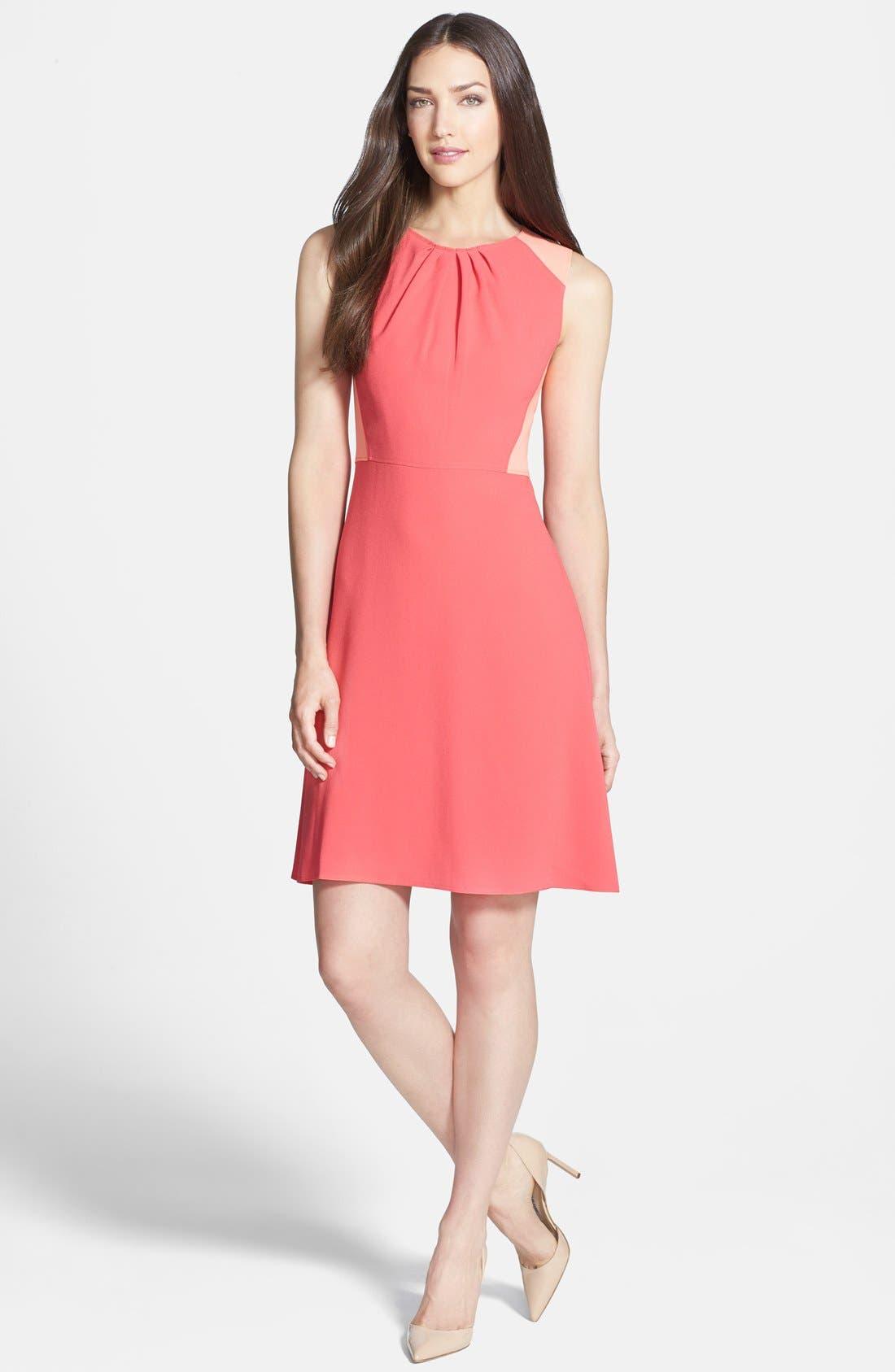 Main Image - Elie Tahari 'Rosario' Colorblock Crepe Fit & Flare Dress