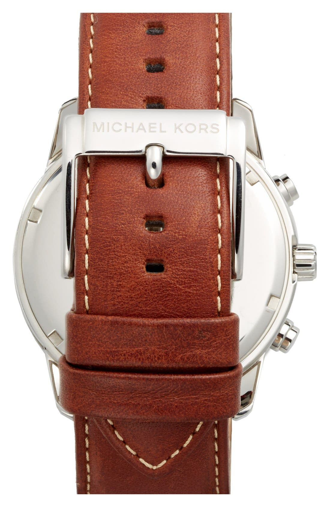 Alternate Image 3  - Michael Kors 'Mercer' Large Chronograph Leather Strap Watch, 45mm