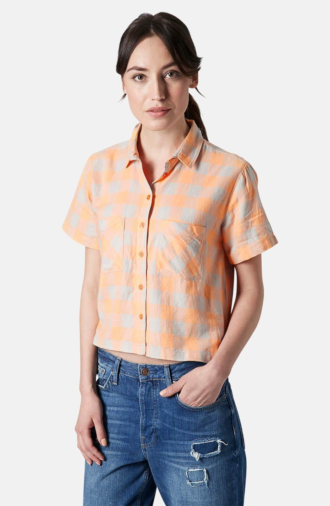 Alternate Image 1 Selected - Topshop 'Amy' Check Short Sleeve Shirt