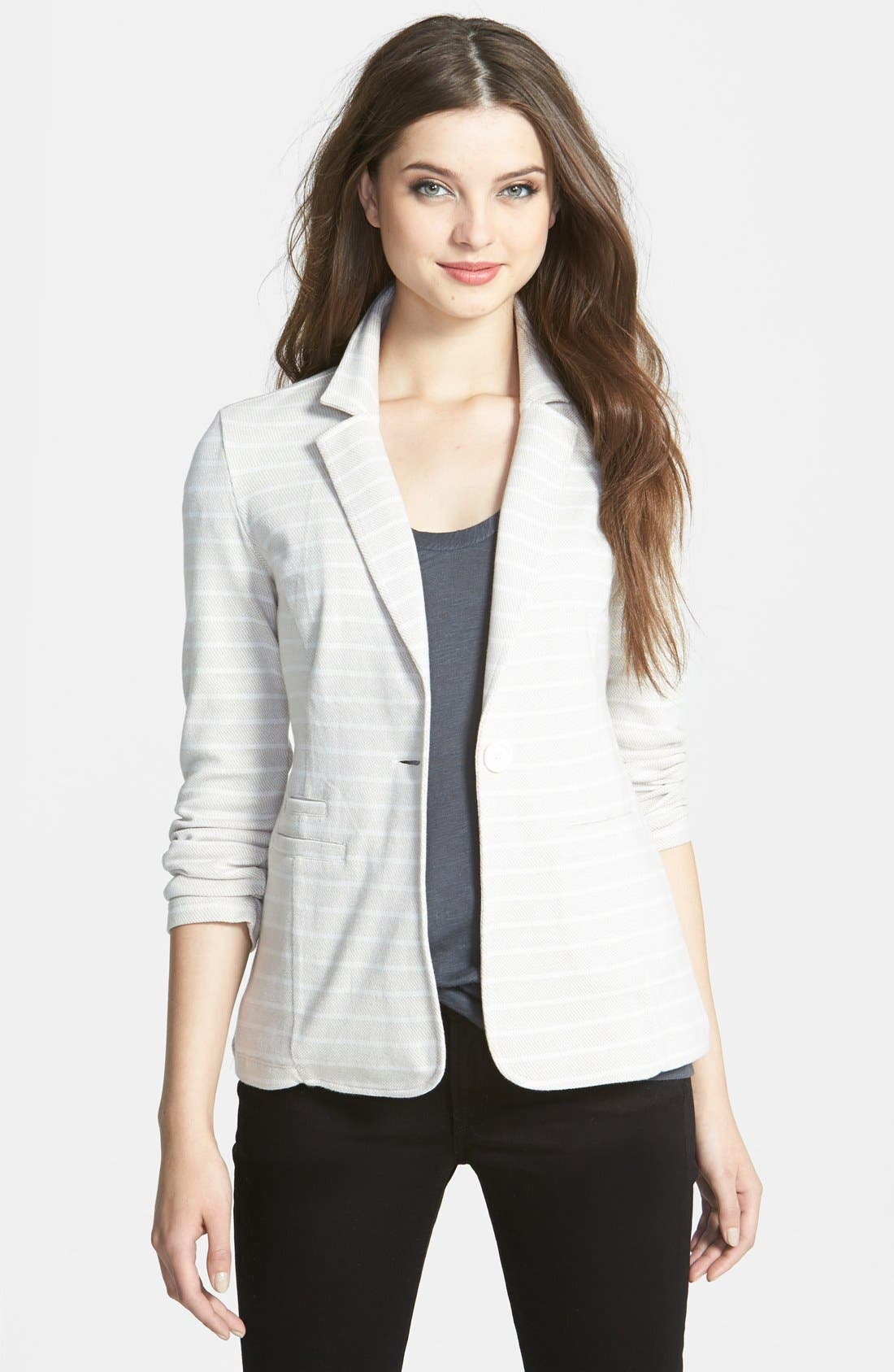 Alternate Image 1 Selected - Caslon® Roll Sleeve Knit Blazer (Regular & Petite)