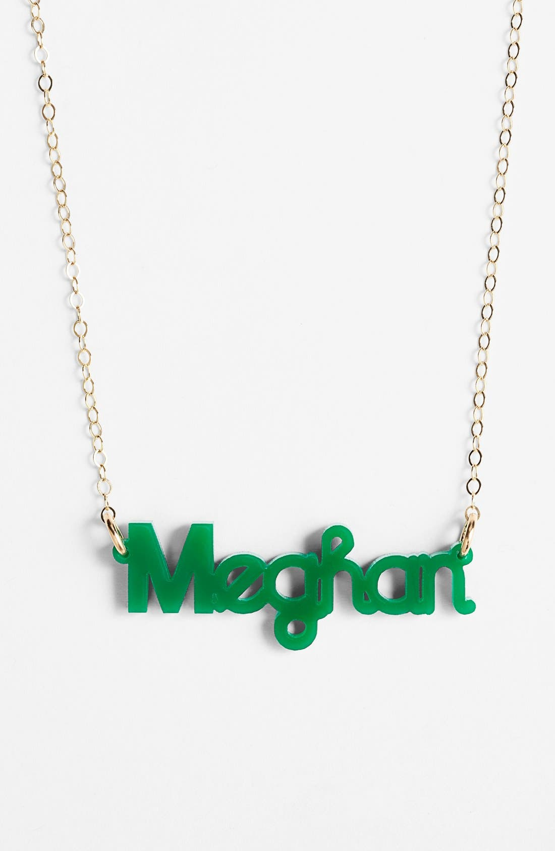 MOON AND LOLA 'Zebra Block Font' Personalized Nameplate Pendant Necklace in Emerald/ Gold