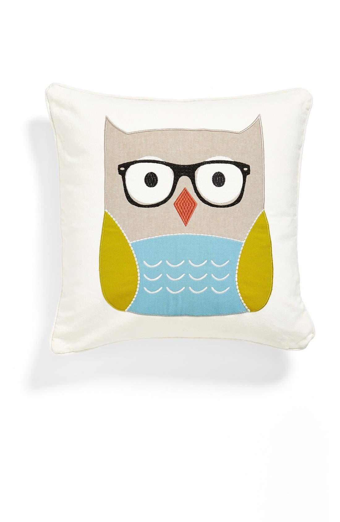 'Owl with Glasses' Accent Pillow,                             Main thumbnail 1, color,                             Blue/Green Multi