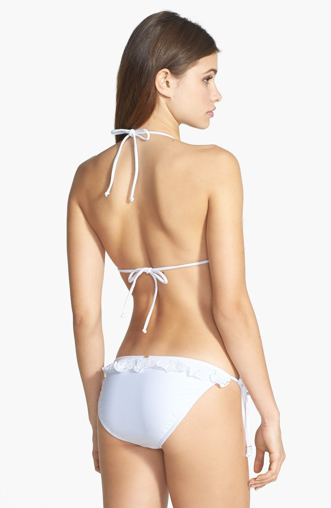 Alternate Image 4  - PilyQ Lace Ruffle Side Tie Bikini Bottoms
