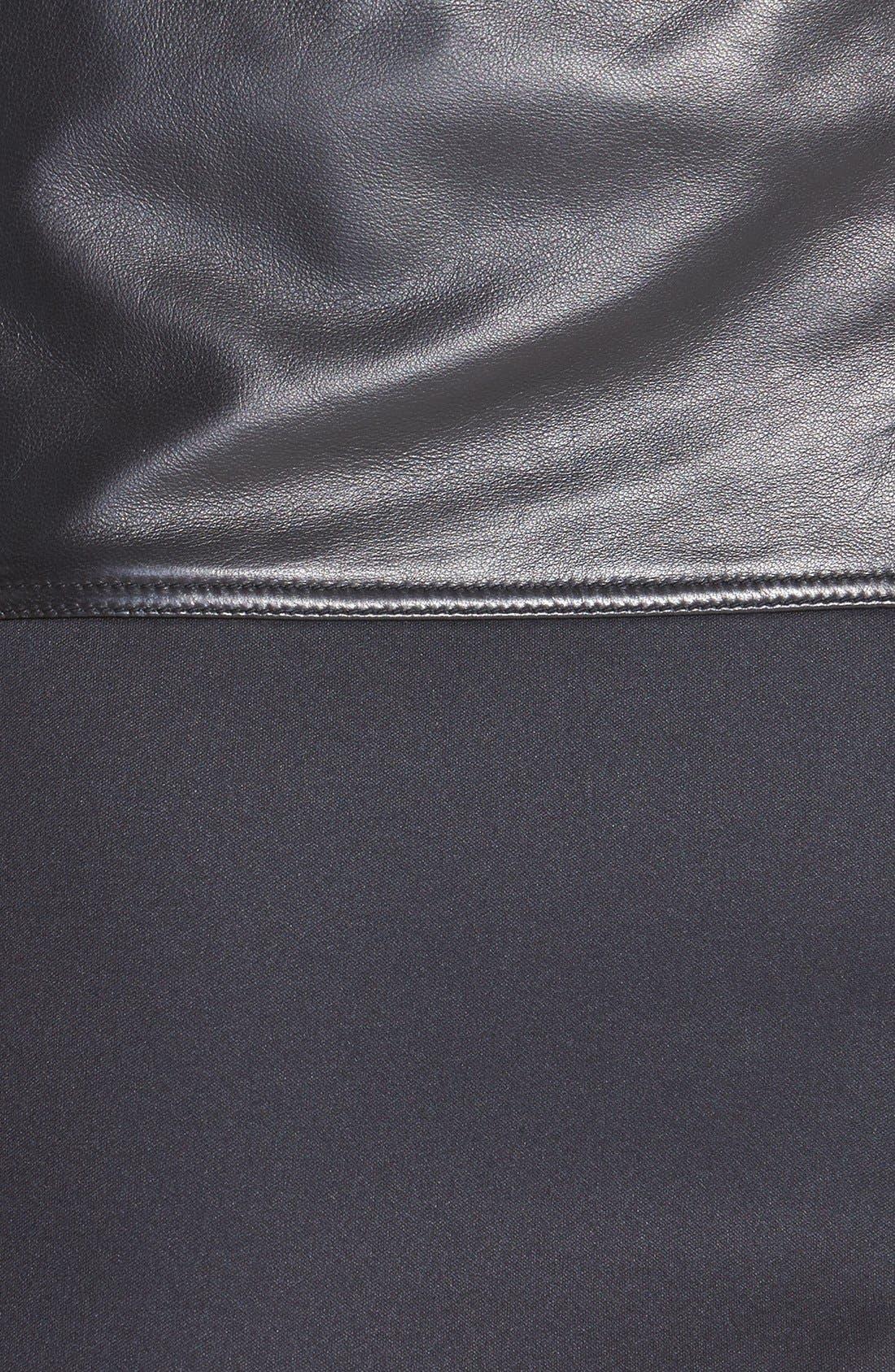 Alternate Image 3  - Halogen® Asymmetrical Zip Leather & Scuba Knit Skirt (Regular & Petite)