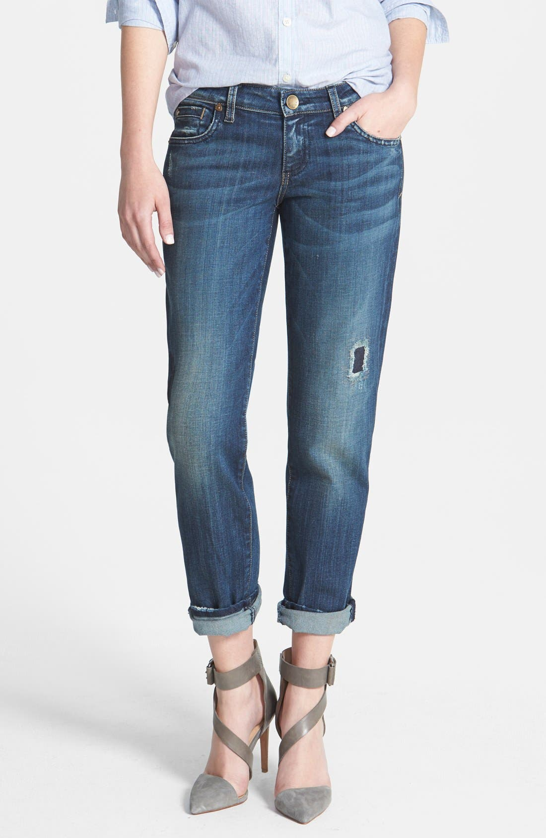 Alternate Image 1 Selected - KUT from the Kloth 'Catherine' Destructed Slim Boyfriend Jeans (Dimple)