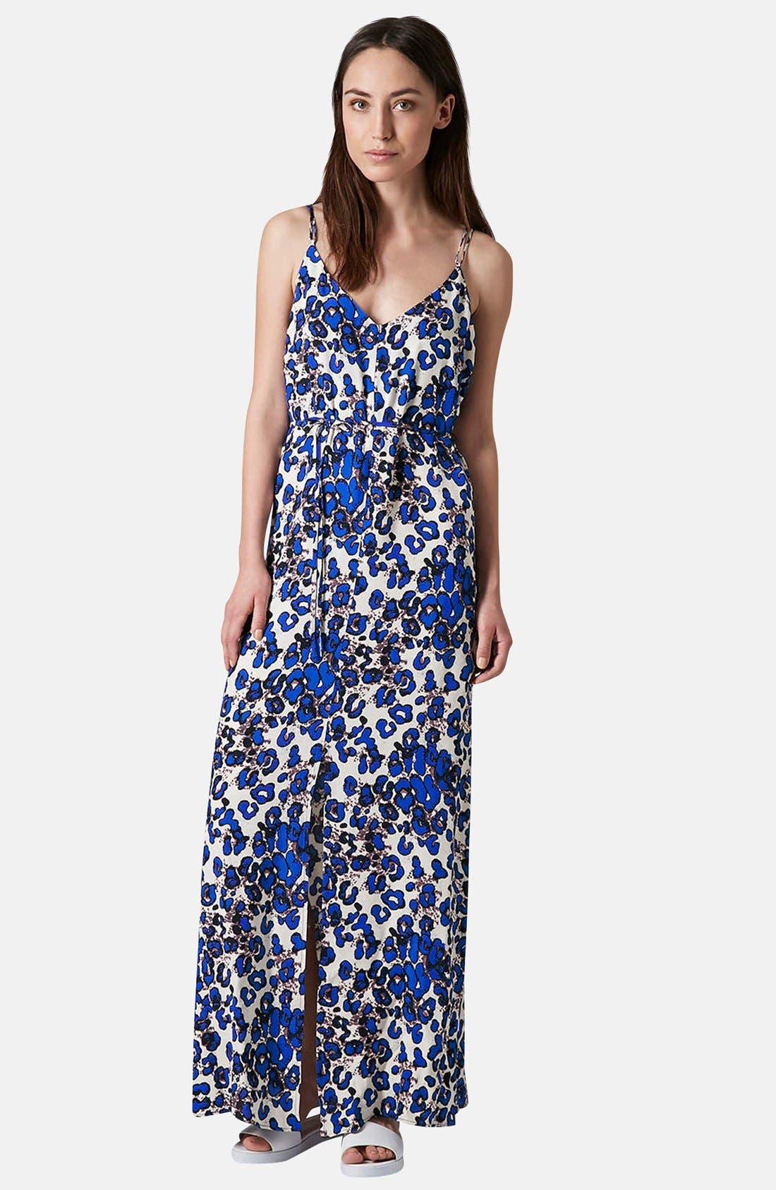 Print Cross Back Maxi Dress,                         Main,                         color, Blue
