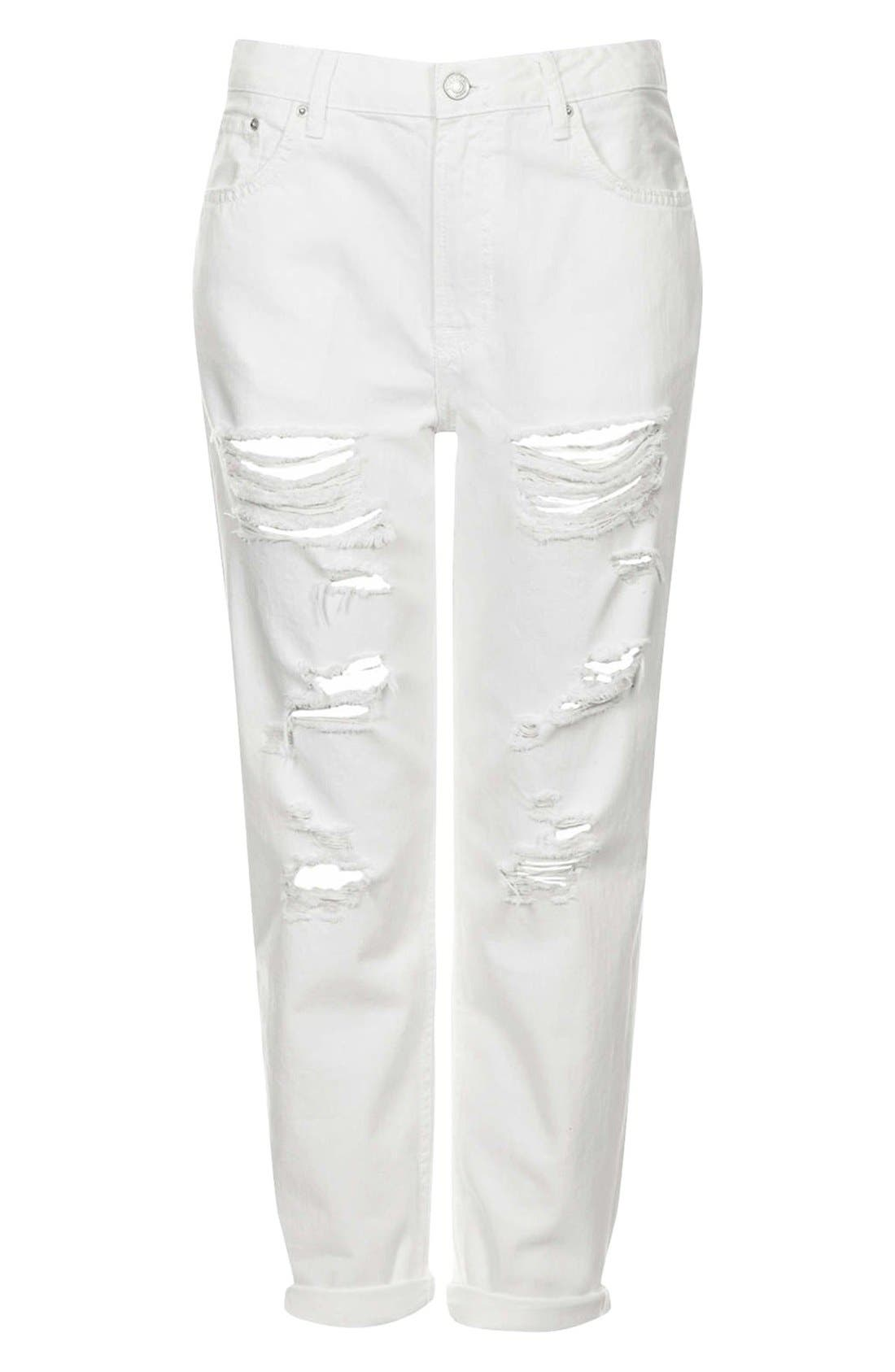 Alternate Image 3  - Topshop Moto 'Hayden' Destroyed Boyfriend Jeans (White)