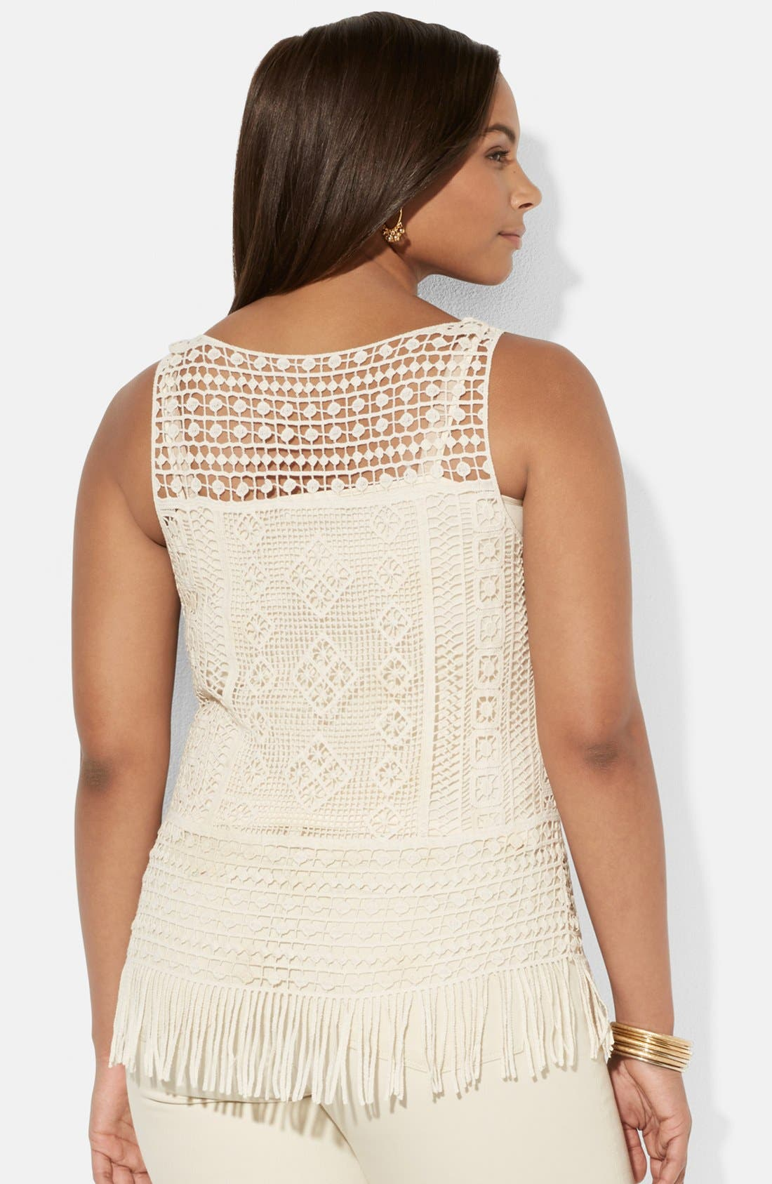 Alternate Image 2  - Lauren Ralph Lauren Fringed Cotton Crochet Tank with Camisole (Plus Size)