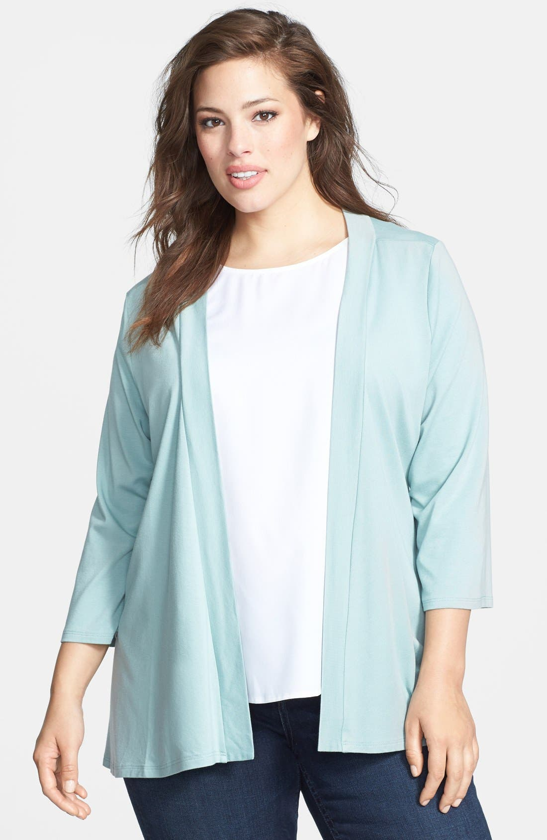 Alternate Image 1 Selected - Chalet 'Eva' Back Pleat Cardigan (Plus Size)
