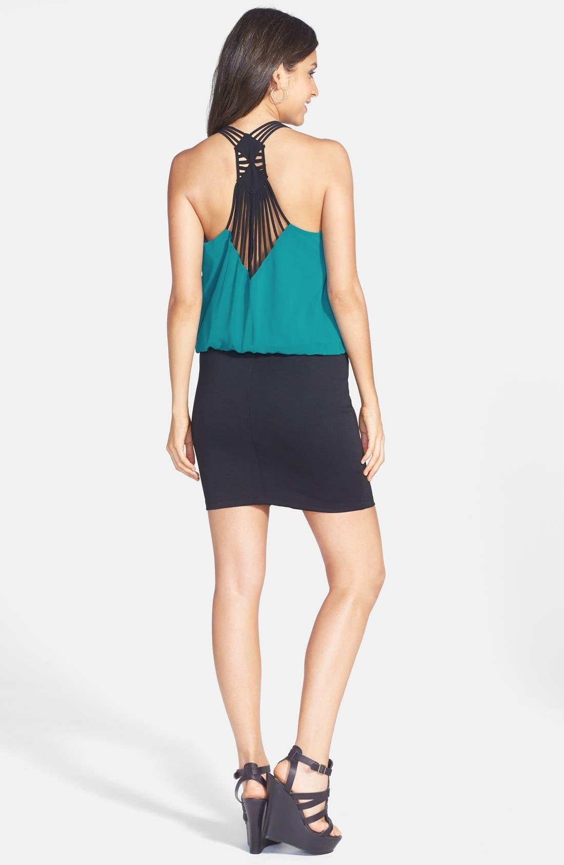 Alternate Image 2  - Trixxi Strap Detail Colorblock Blouson Dress (Juniors)