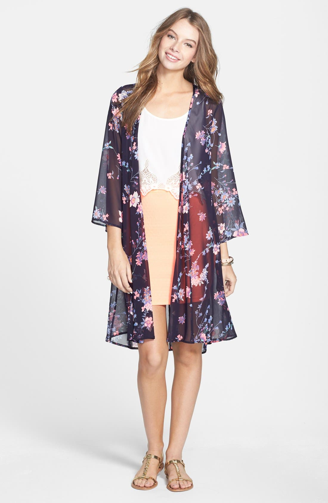 Alternate Image 1 Selected - Rossmore Floral Print Kimono Cardigan (Juniors)
