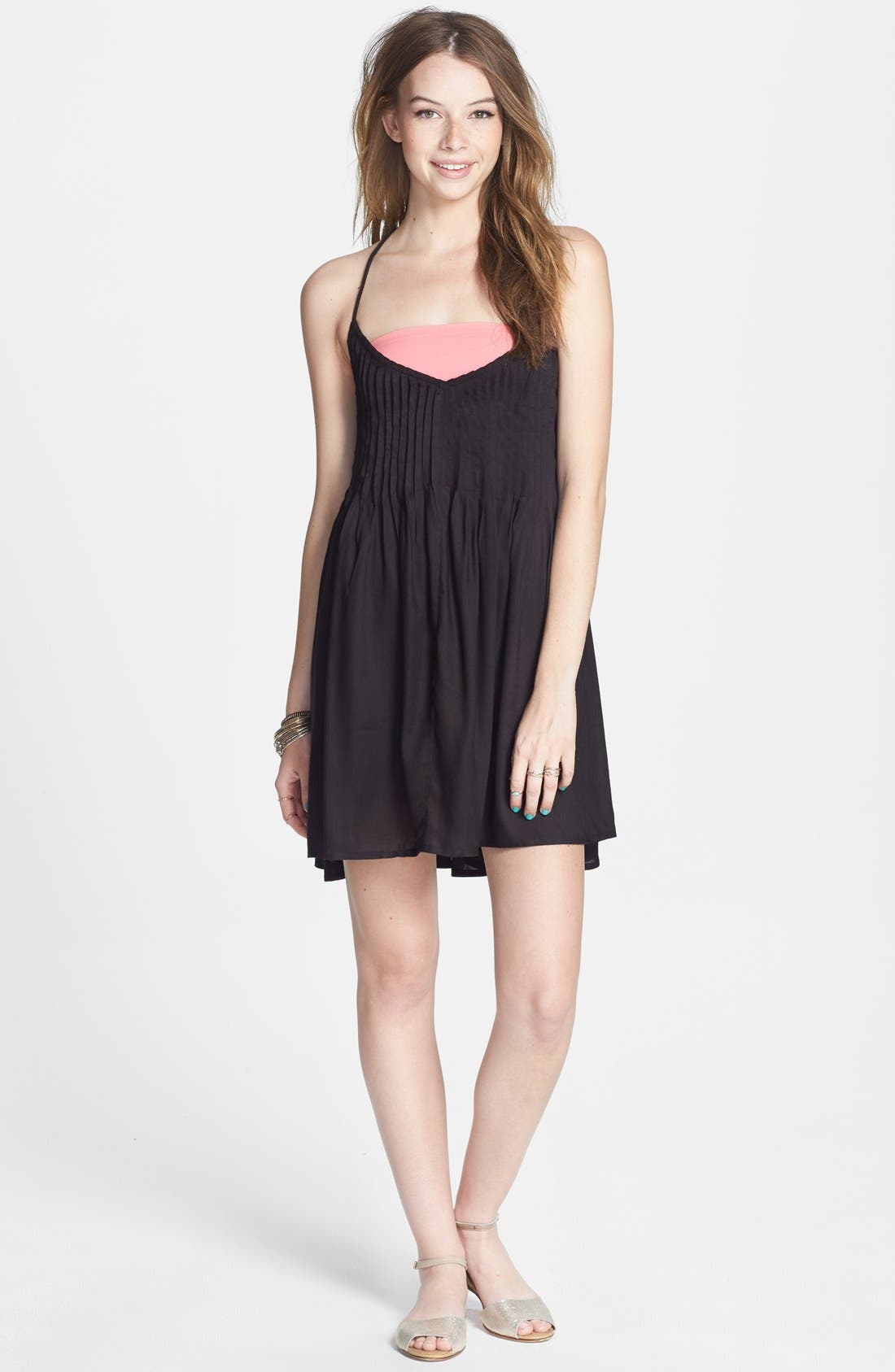 Main Image - RVCA 'Told Secrets' Pintucked Lace Up Dress