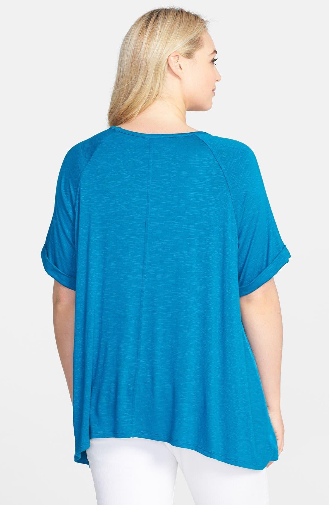 Alternate Image 2  - Sejour 'Reese' Short Sleeve Burnout Front Tee (Plus Size)