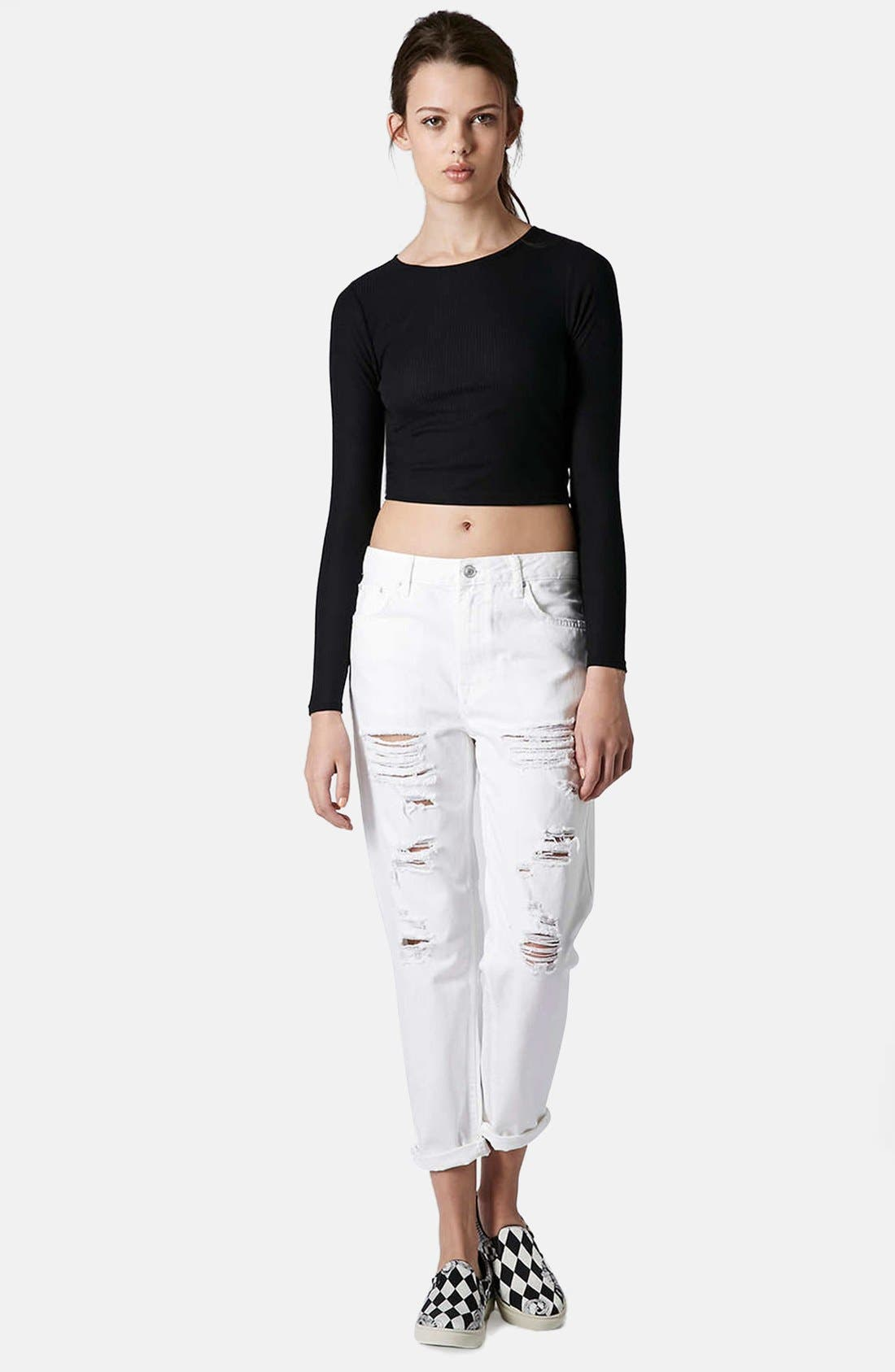 Alternate Image 5  - Topshop Moto 'Hayden' Destroyed Boyfriend Jeans (White)