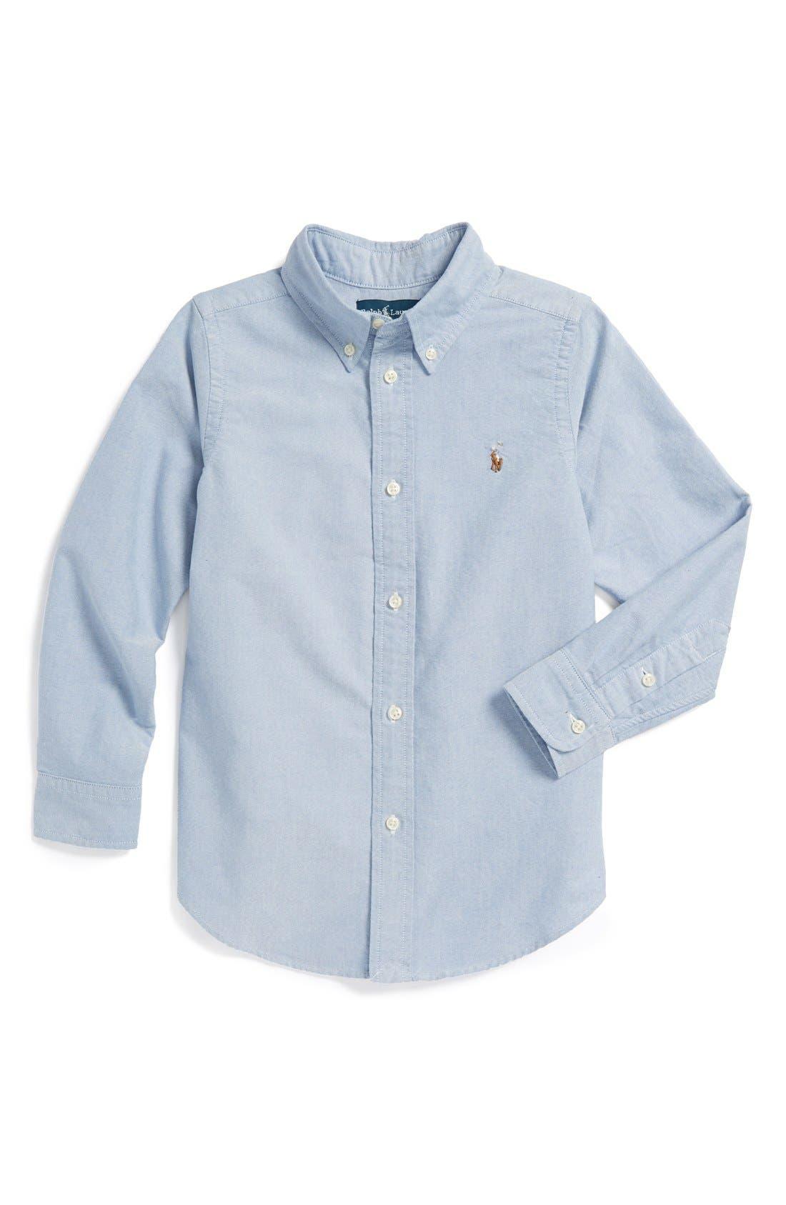 Alternate Image 1 Selected - Ralph Lauren Oxford Button Down Sport Shirt (Little Boys)