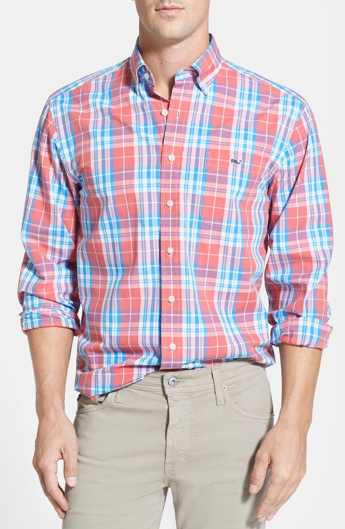 Main Image - Vineyard Vines 'Tucker - Ginger Rum' Regular Fit Plaid Sport Shirt