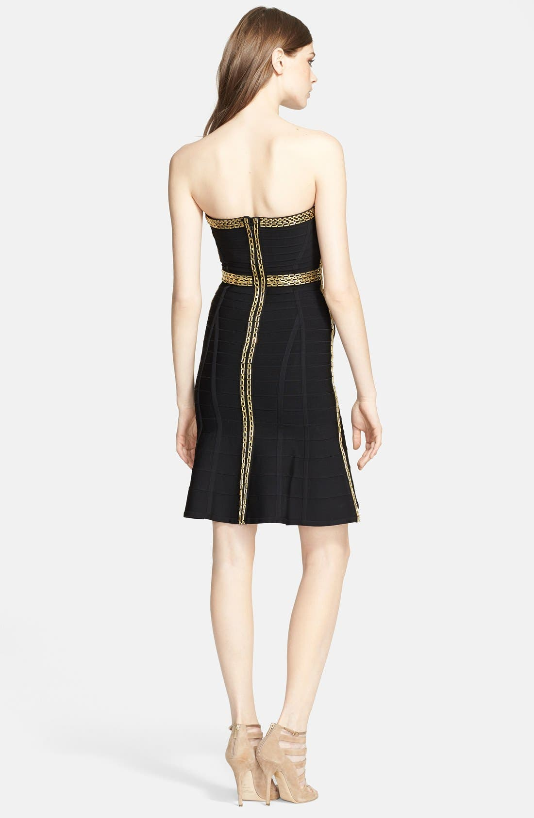 Alternate Image 2  - Herve Leger Chain Detail Flared Bandage Dress