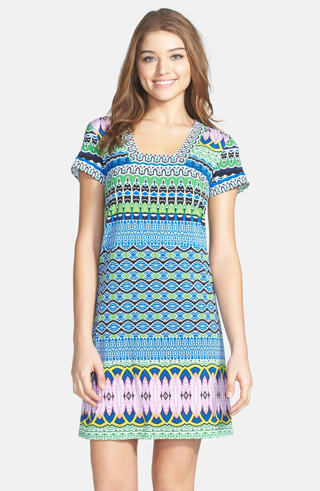 Alternate Image 1 Selected - Laundry by Shelli Segal Print Matte Jersey Shift Dress (Petite)