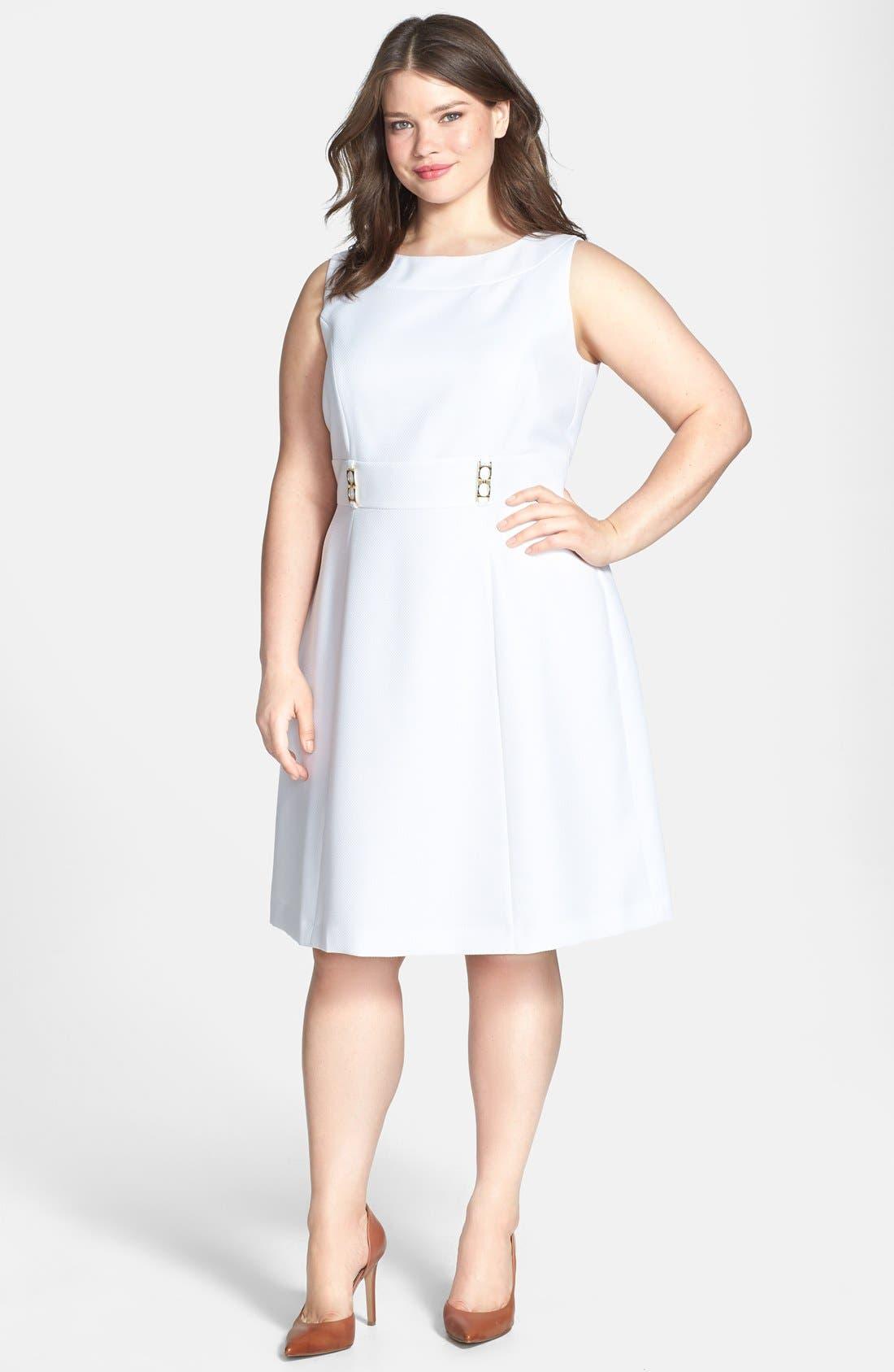 Alternate Image 1 Selected - Tahari Textured Fit & Flare Dress (Plus Size)