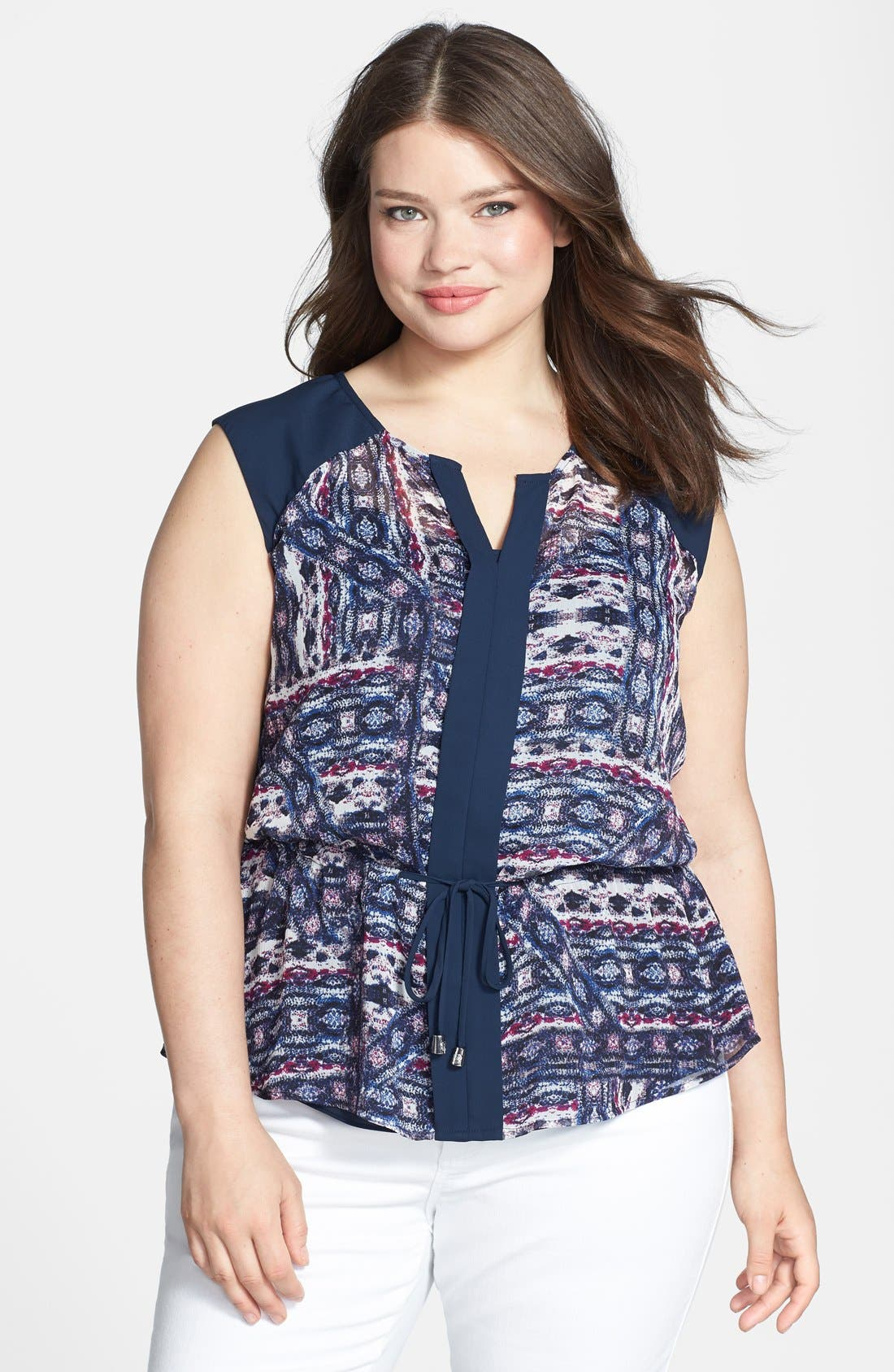 Main Image - Vince Camuto 'Tribal' Print Tie Front Blouse (Plus Size)