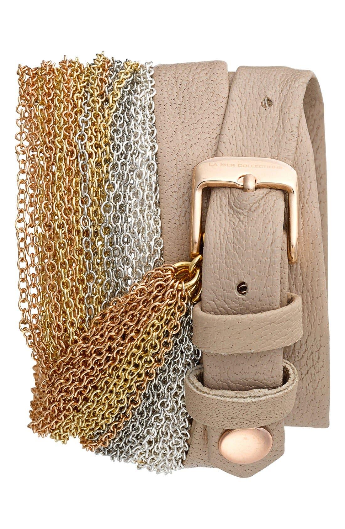 Alternate Image 2  - La Mer Collections 'Rainbow' Leather & Chain Wrap Bracelet Watch, 23mm x 30mm