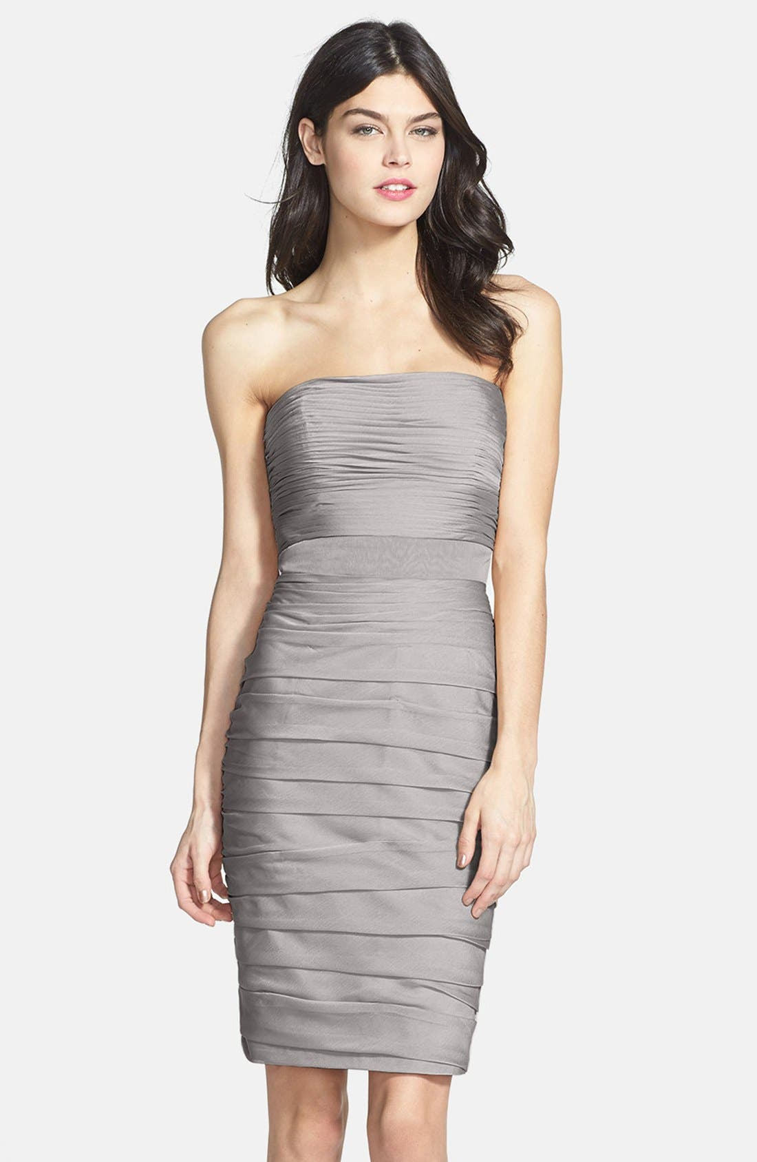 Main Image - Monique Lhuillier Bridesmaids Ruched Strapless Cationic Chiffon Dress (Nordstrom Exclusive) (Regular & Plus Size)