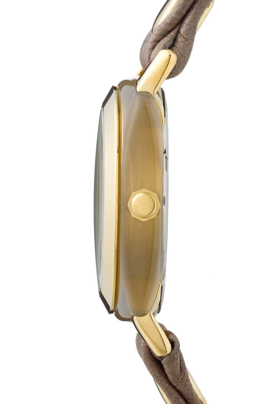 Alternate Image 3  - La Mer Collections 'Smokey Quartz' Leather Wrap Bracelet Watch, 42mm x 40mm
