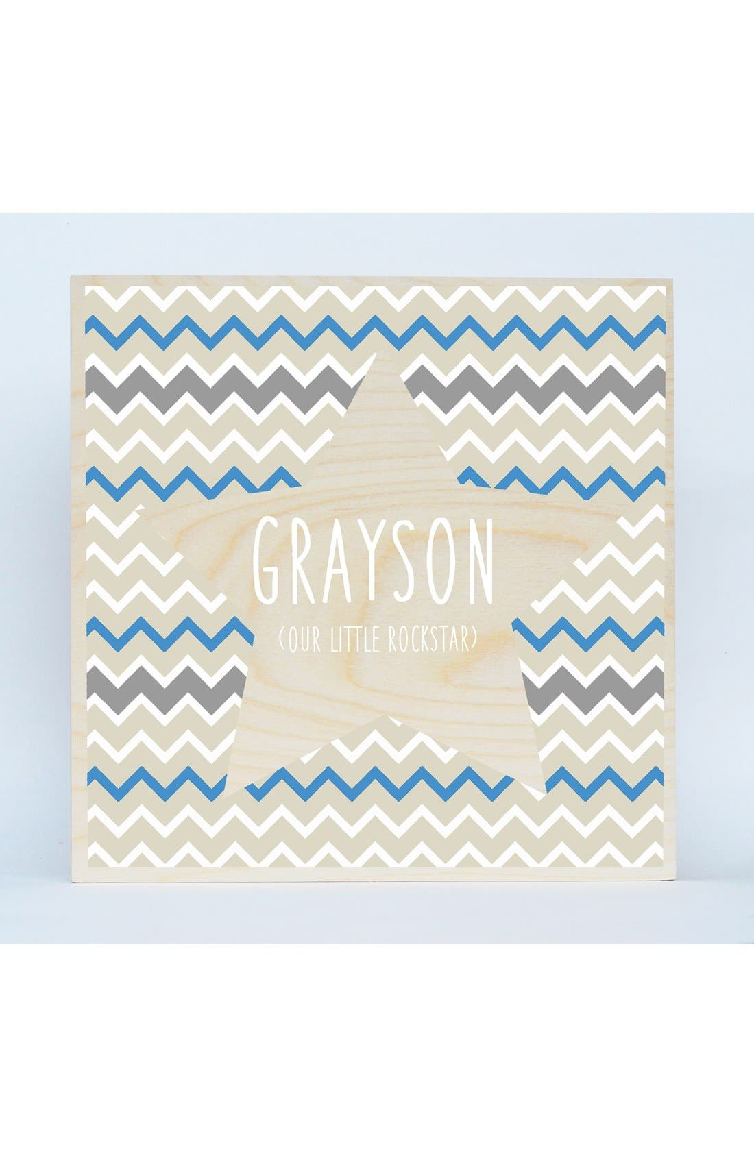 'Chevron Star' Personalized Birchwood Wall Art,                         Main,                         color, Blue