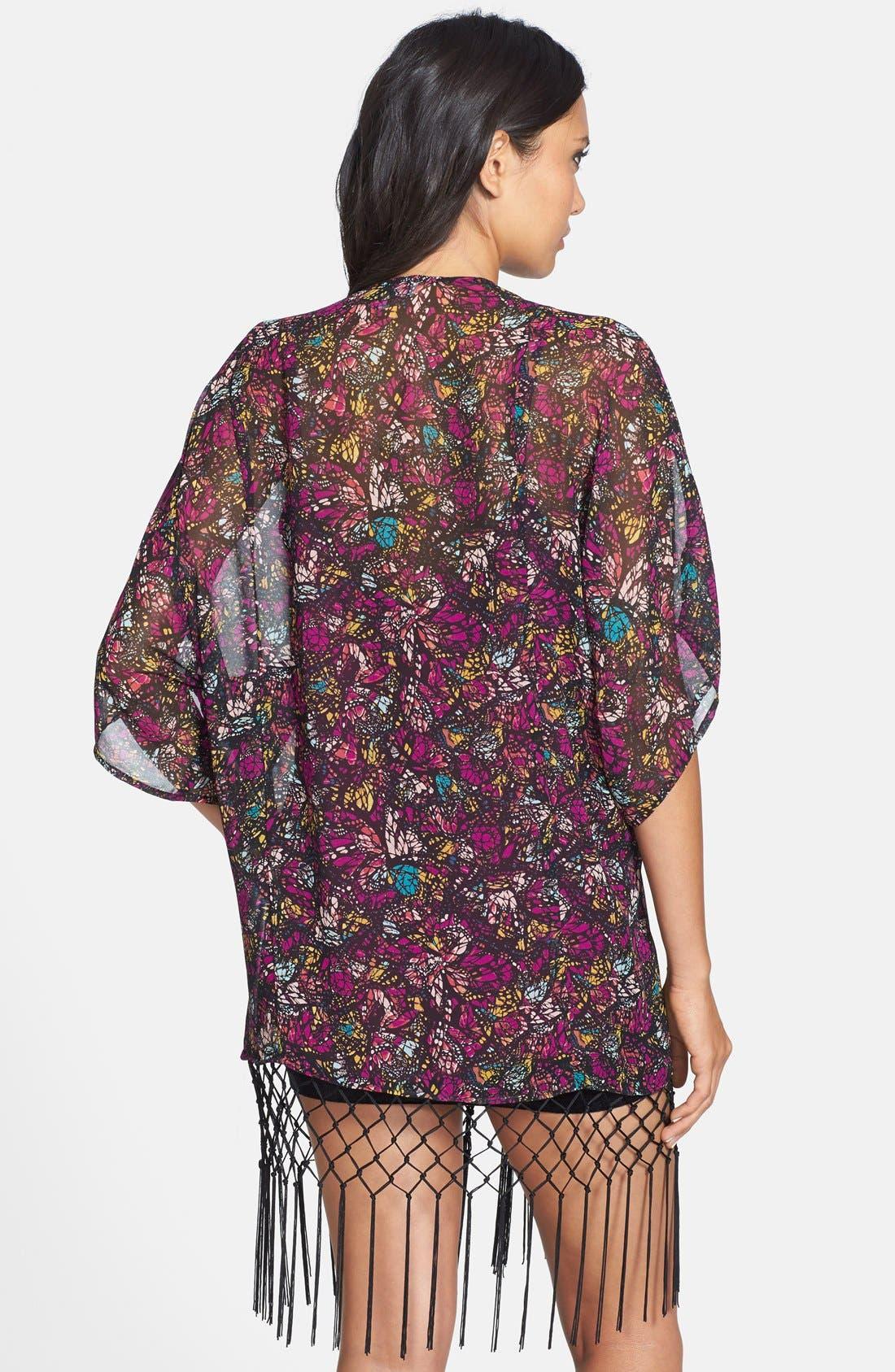 Alternate Image 2  - WAYF Floral Kimono Sleeve Cardigan
