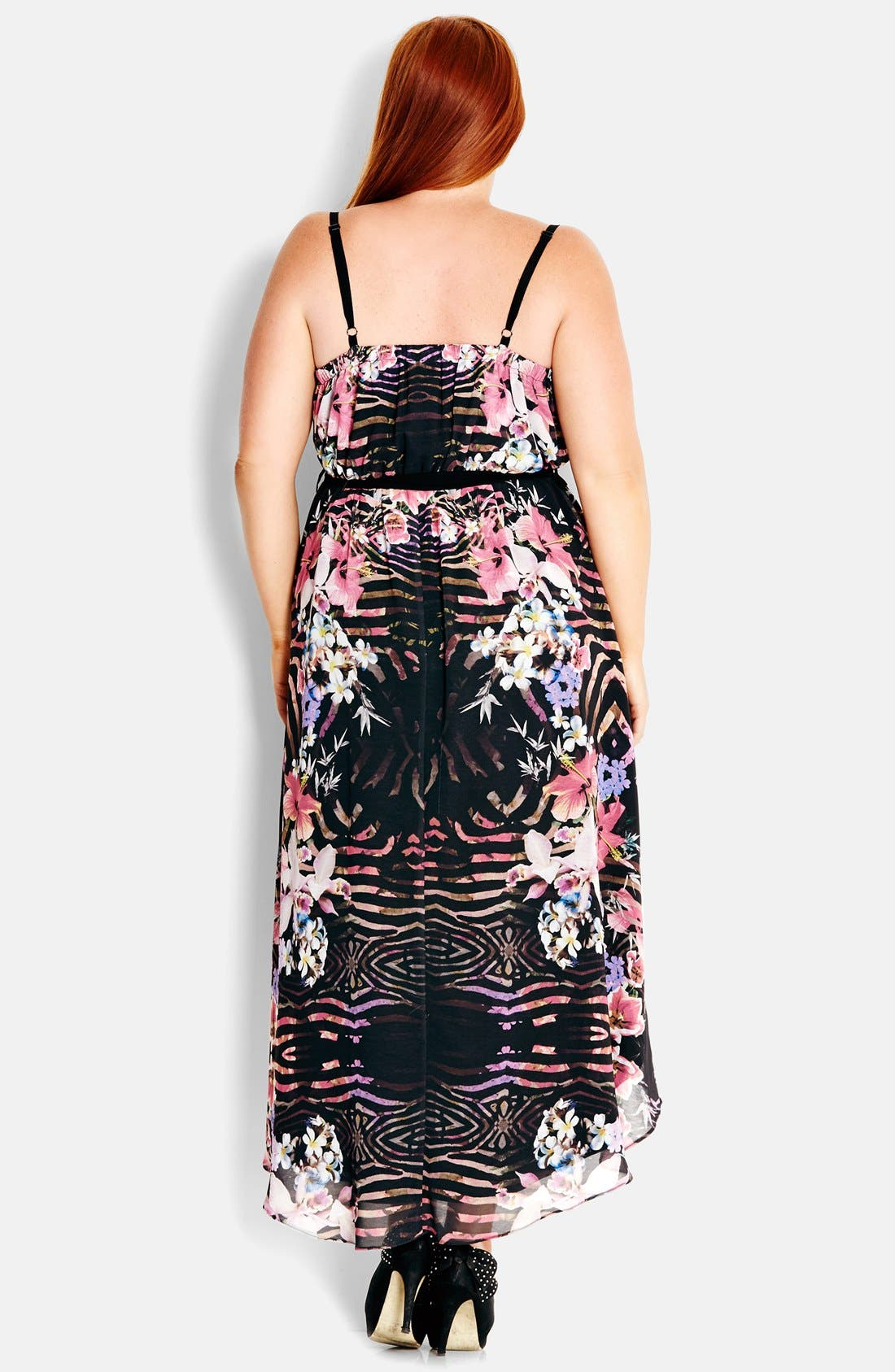 Alternate Image 2  - City Chic 'Jungle Floral' V-Neck High/Low Print Sundress (Plus Size)