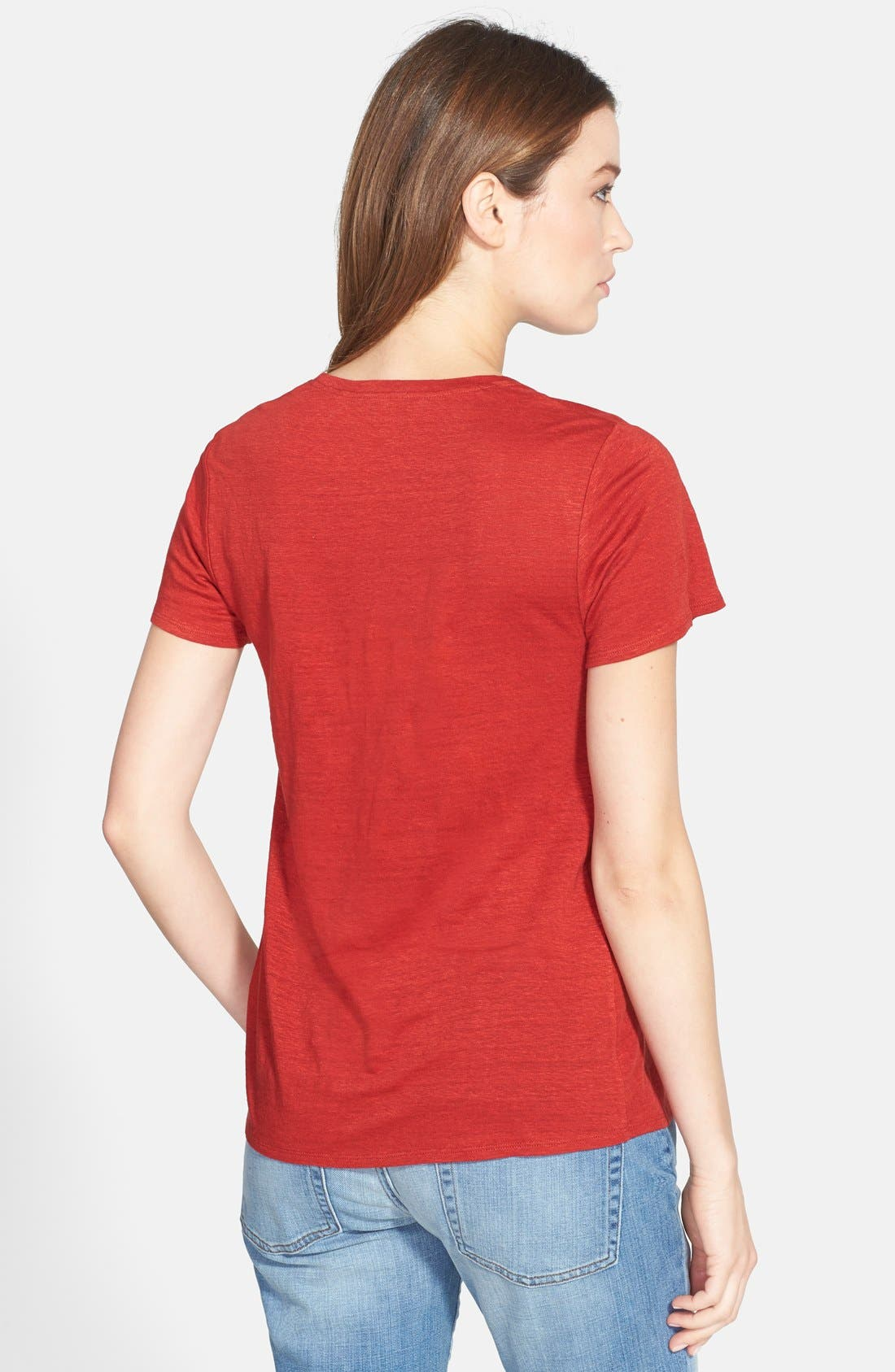Alternate Image 2  - Eileen Fisher U-Neck Organic Linen A-Line Tee