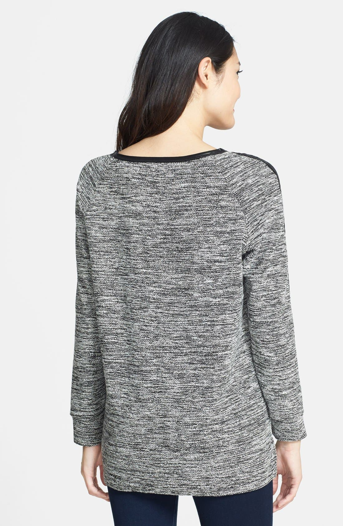Alternate Image 2  - Two by Vince Camuto Faux Leather Trim Sweatshirt