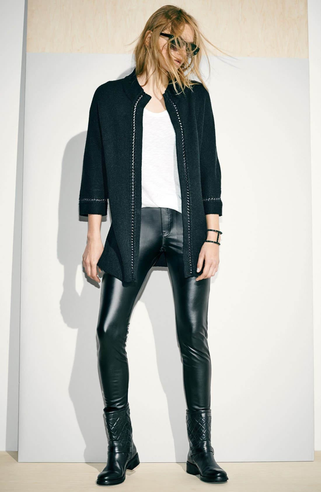 'Leatherette' Leggings,                             Alternate thumbnail 4, color,                             Black