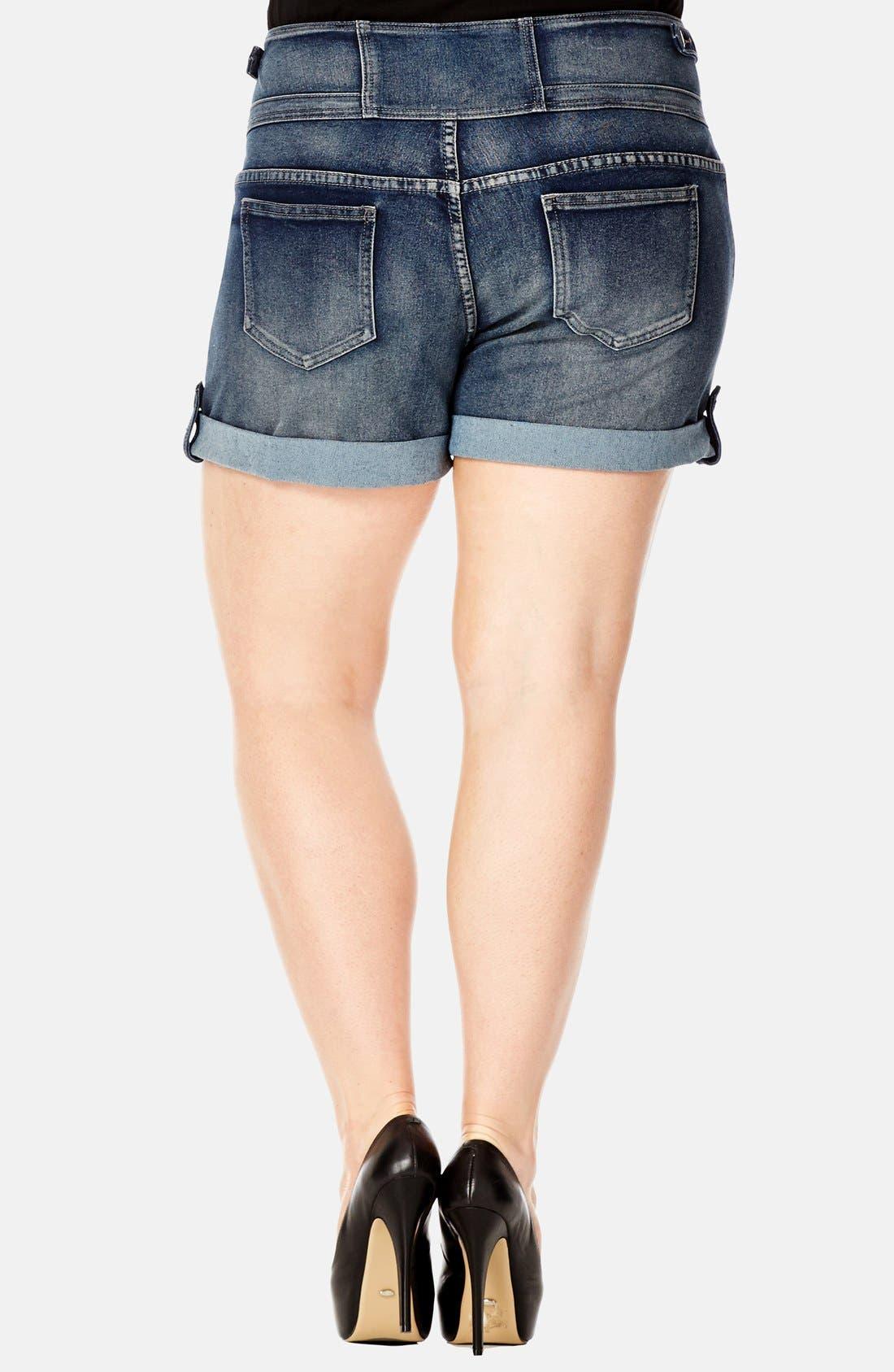 Alternate Image 2  - City Chic High Waist Stretch Denim Shorts (Dark) (Plus Size)