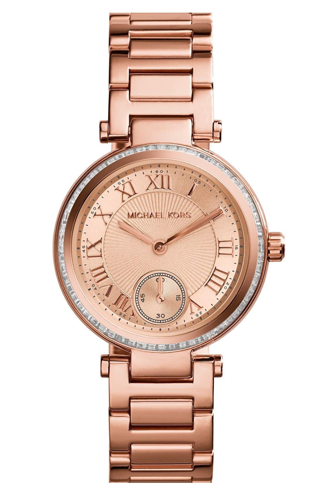 Main Image - Michael Kors 'Skylar - Small' Crystal Bezel Bracelet Watch, 33mm
