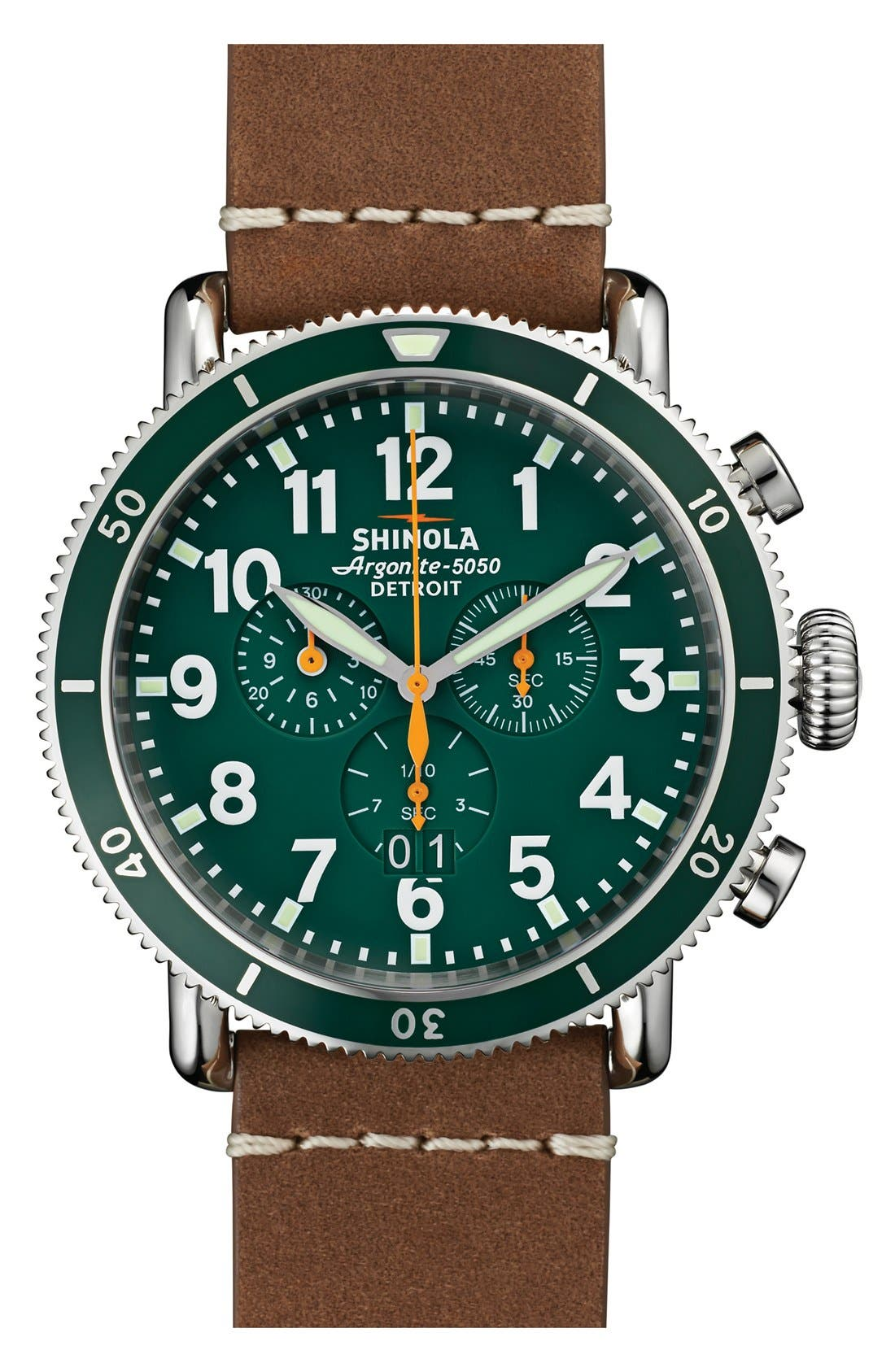 'The Runwell' Chronograph Leather Strap Watch, 48mm,                             Main thumbnail 1, color,                             Tan/ Green